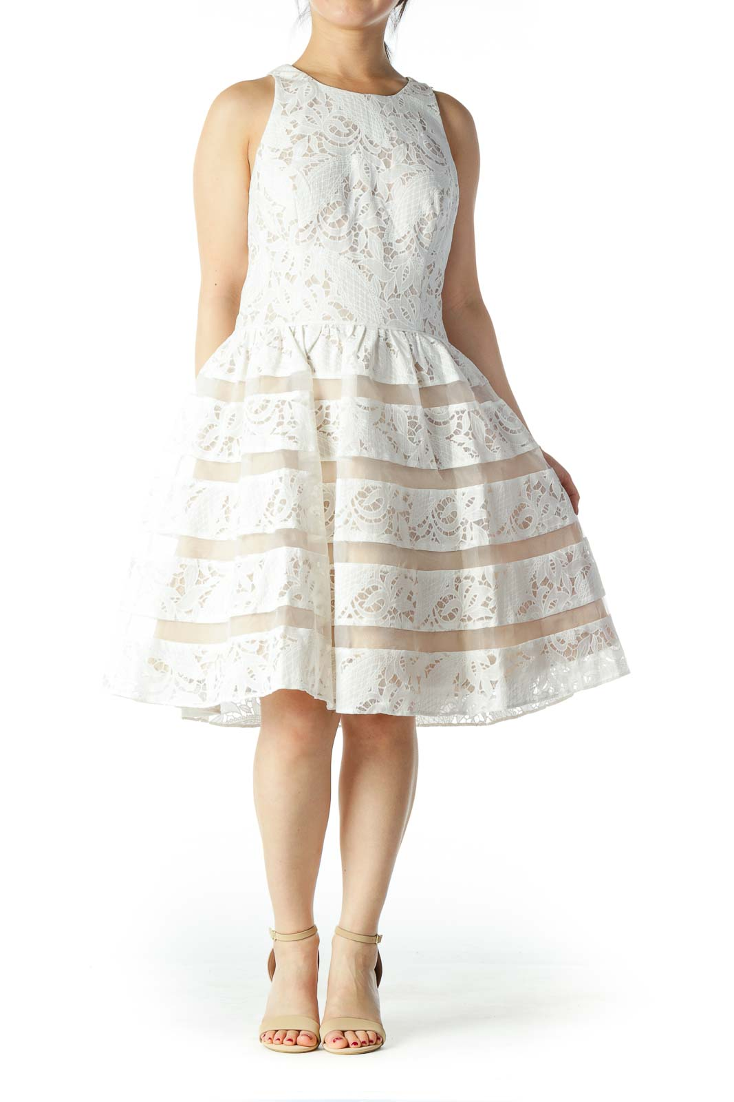 White and Nude Lace Tea Dress