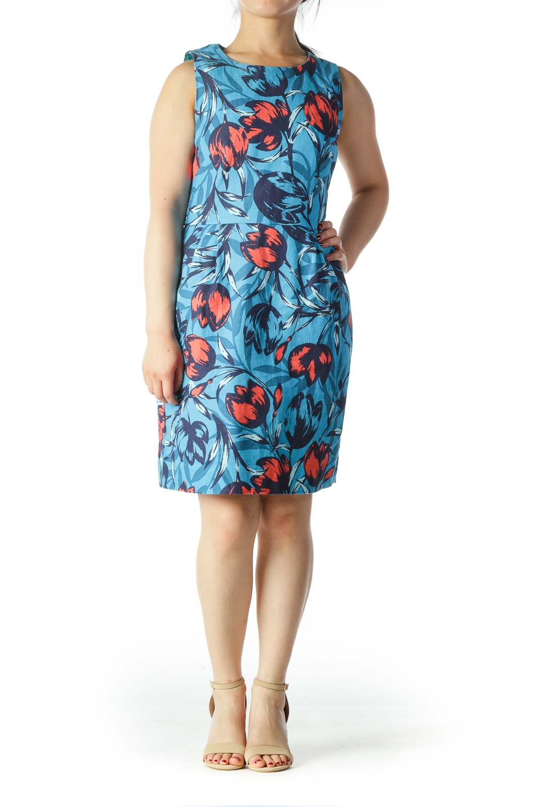 Blue and Orange Floral Dress