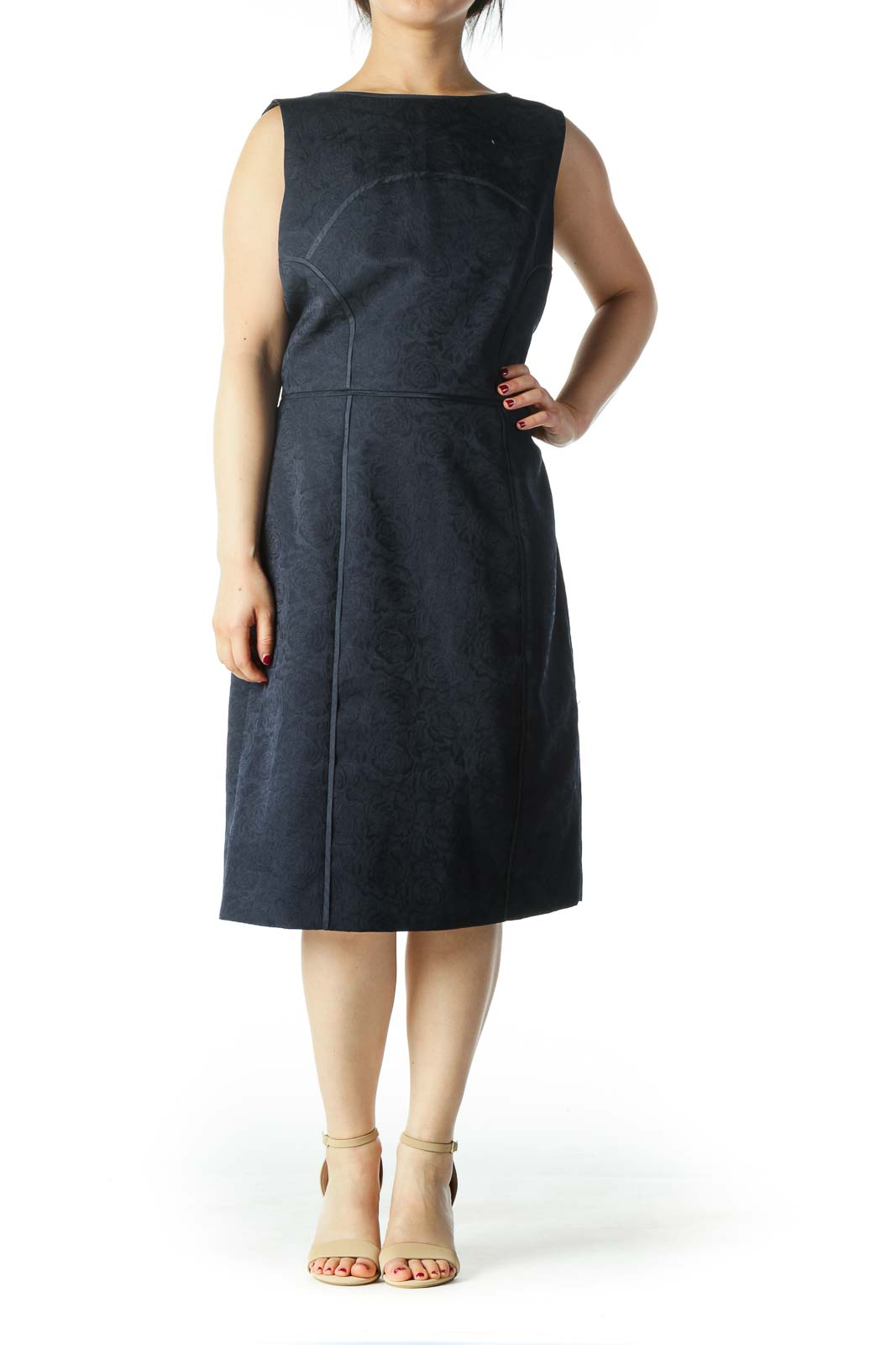 Navy Blue Textured Knee Length Work Dress