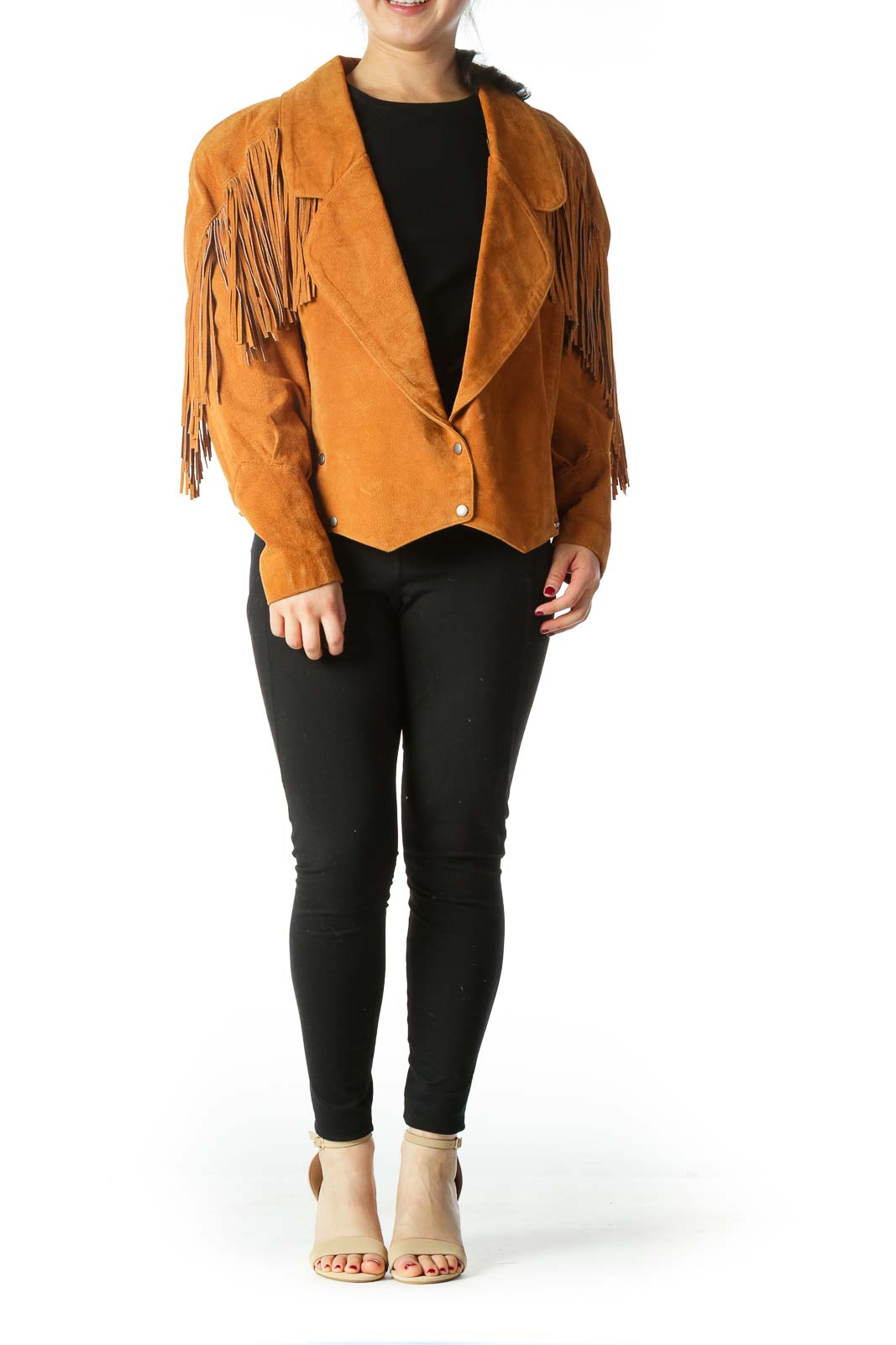 Brown Fringe Double - Breasted Jacket