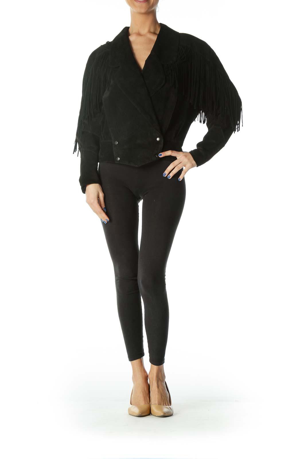 Black Double - Breasted Fringe Jacket