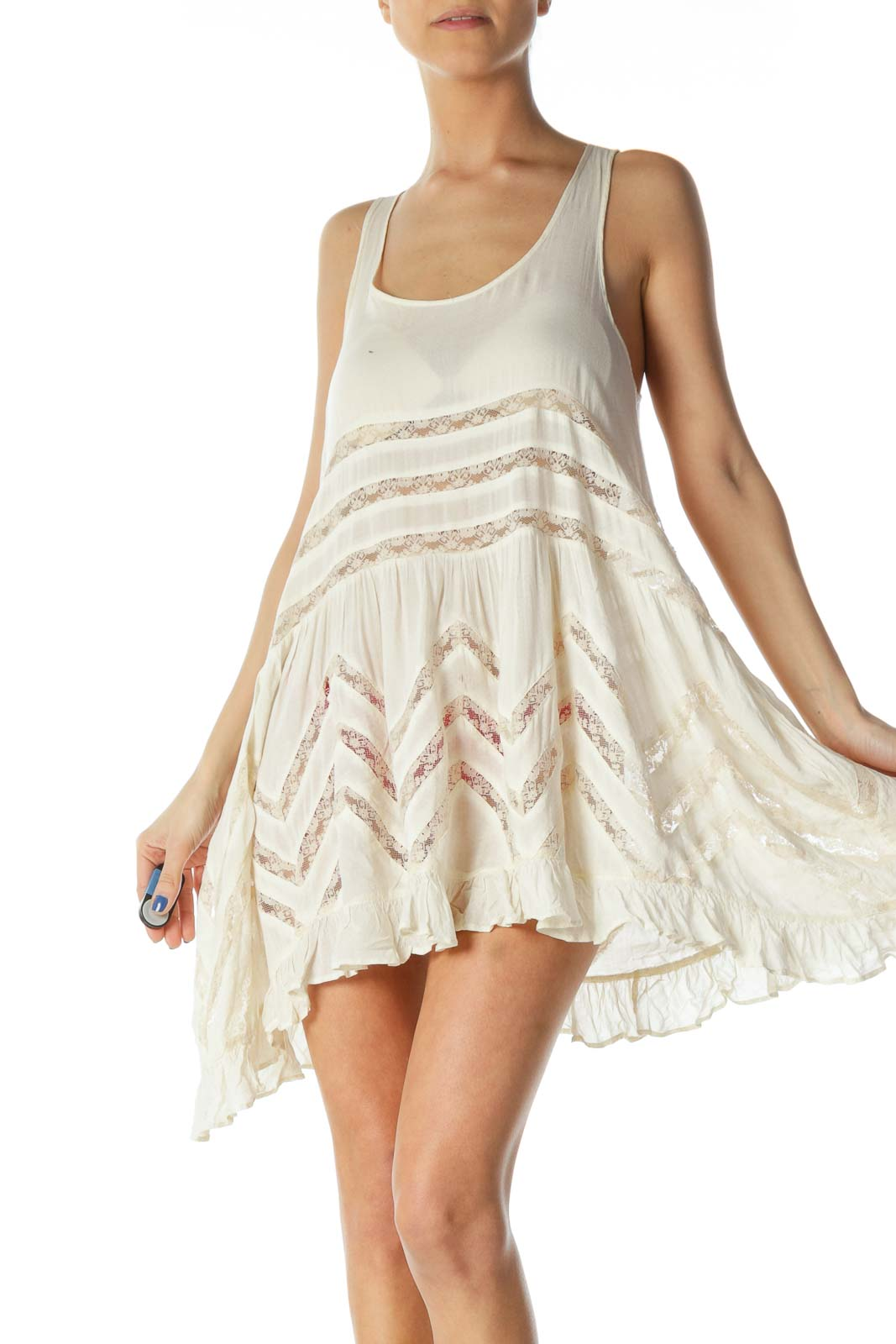 Beige Flowy Lace Tank Top