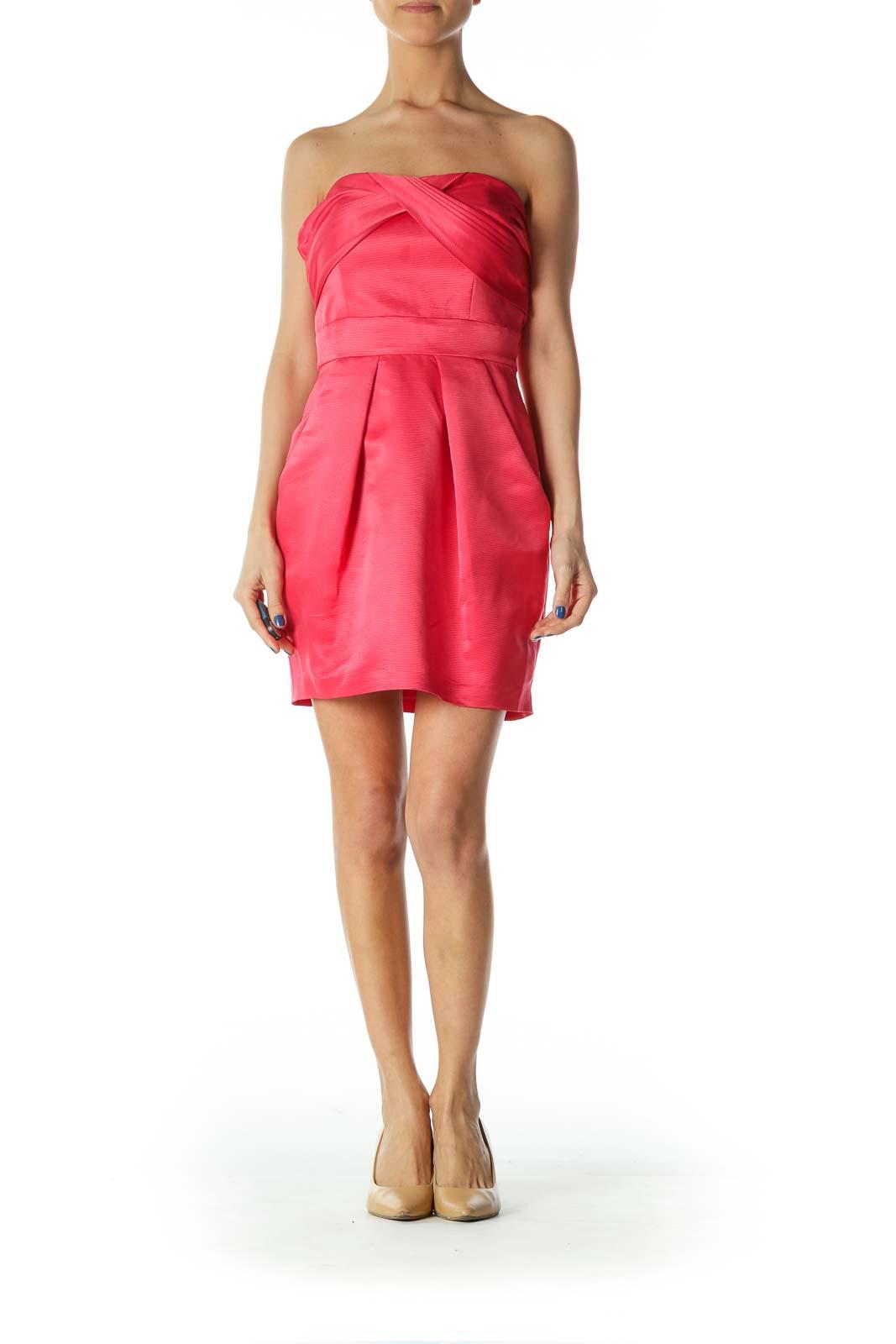 Pink Textured Strapless Cocktail Dress