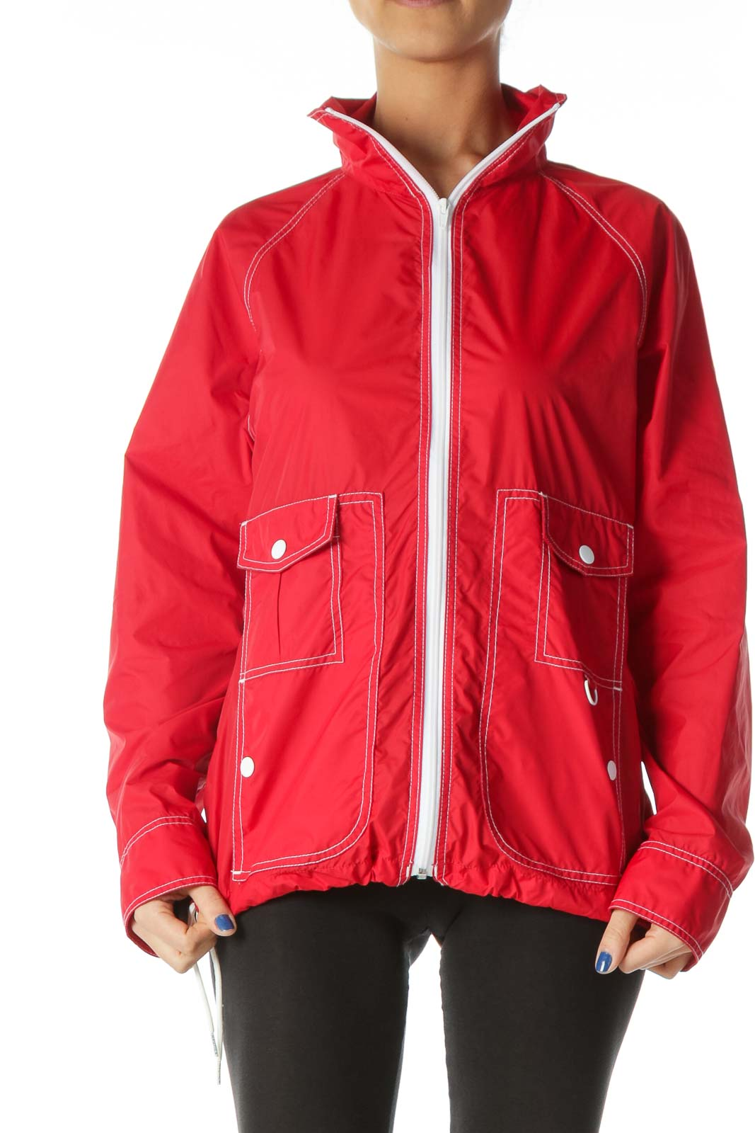 Red White-Topstitching Light Sports Jacket