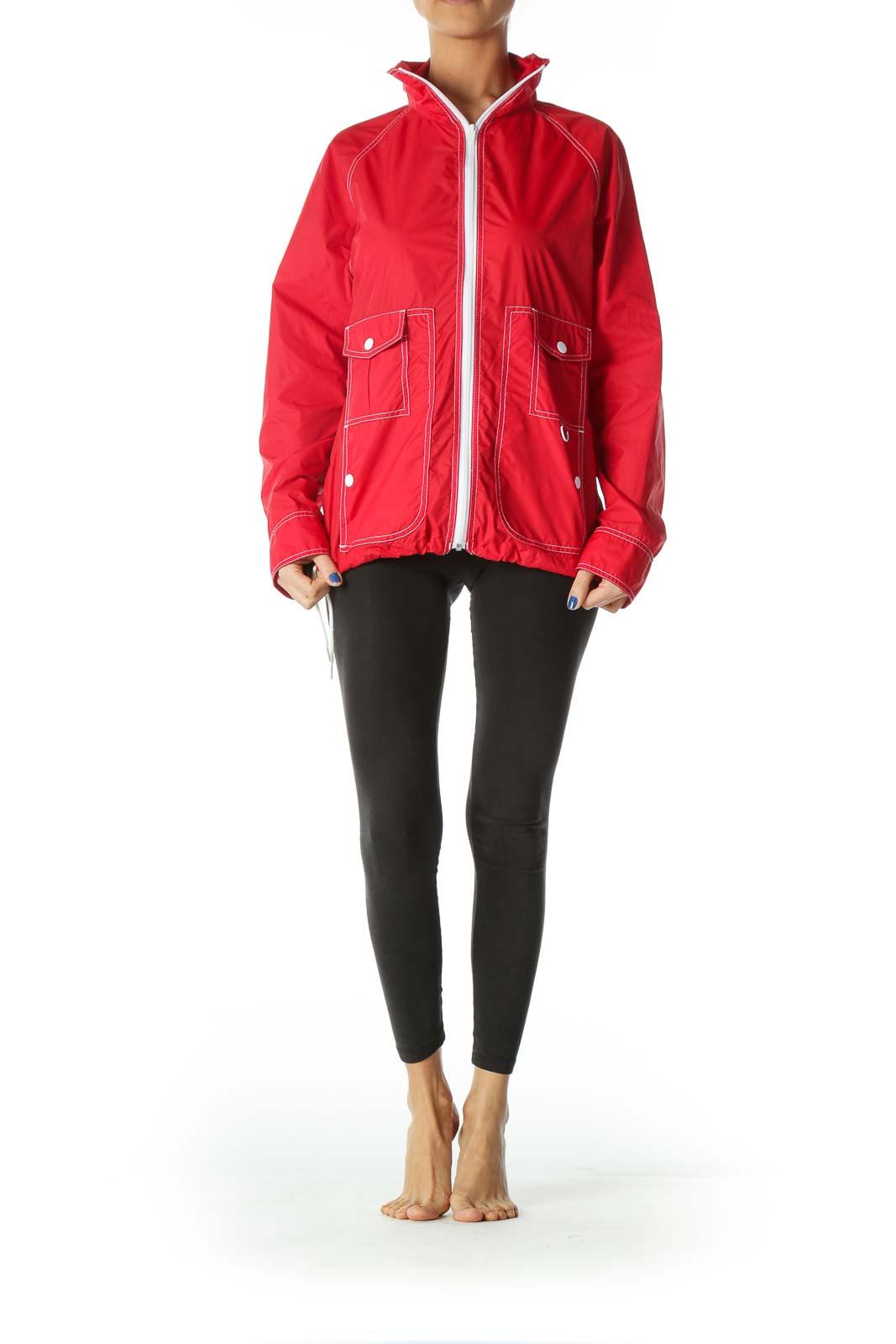 Red White-Topstitching Light Sports Jacket