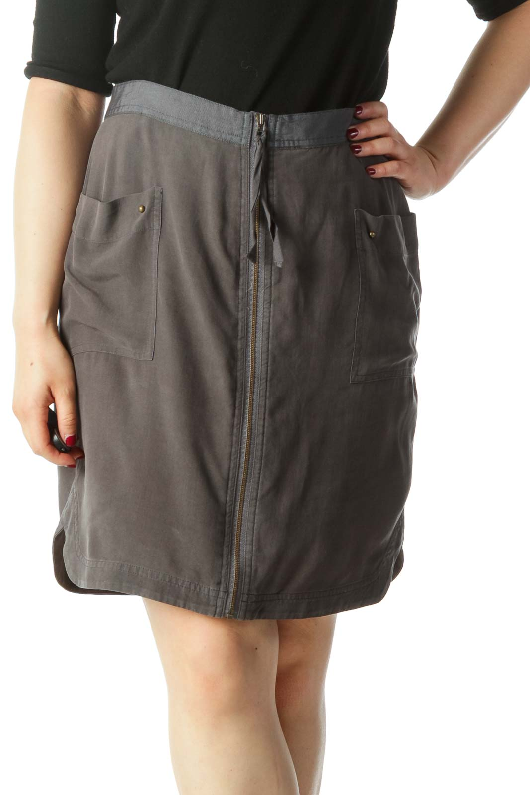 Gray Silk Mini Skirt
