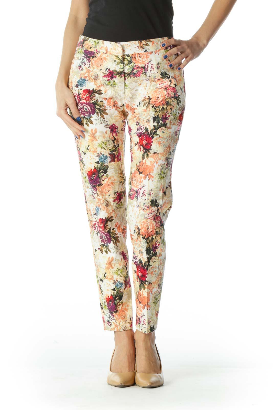 Floral Ankle-Crop Skinny Pants