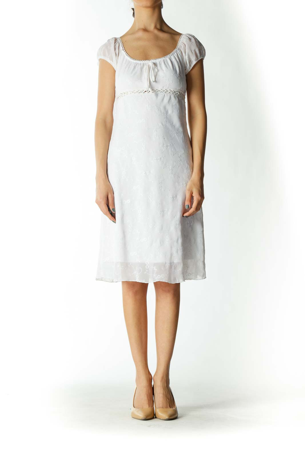 White Eyelet Crocheted Flared Dress