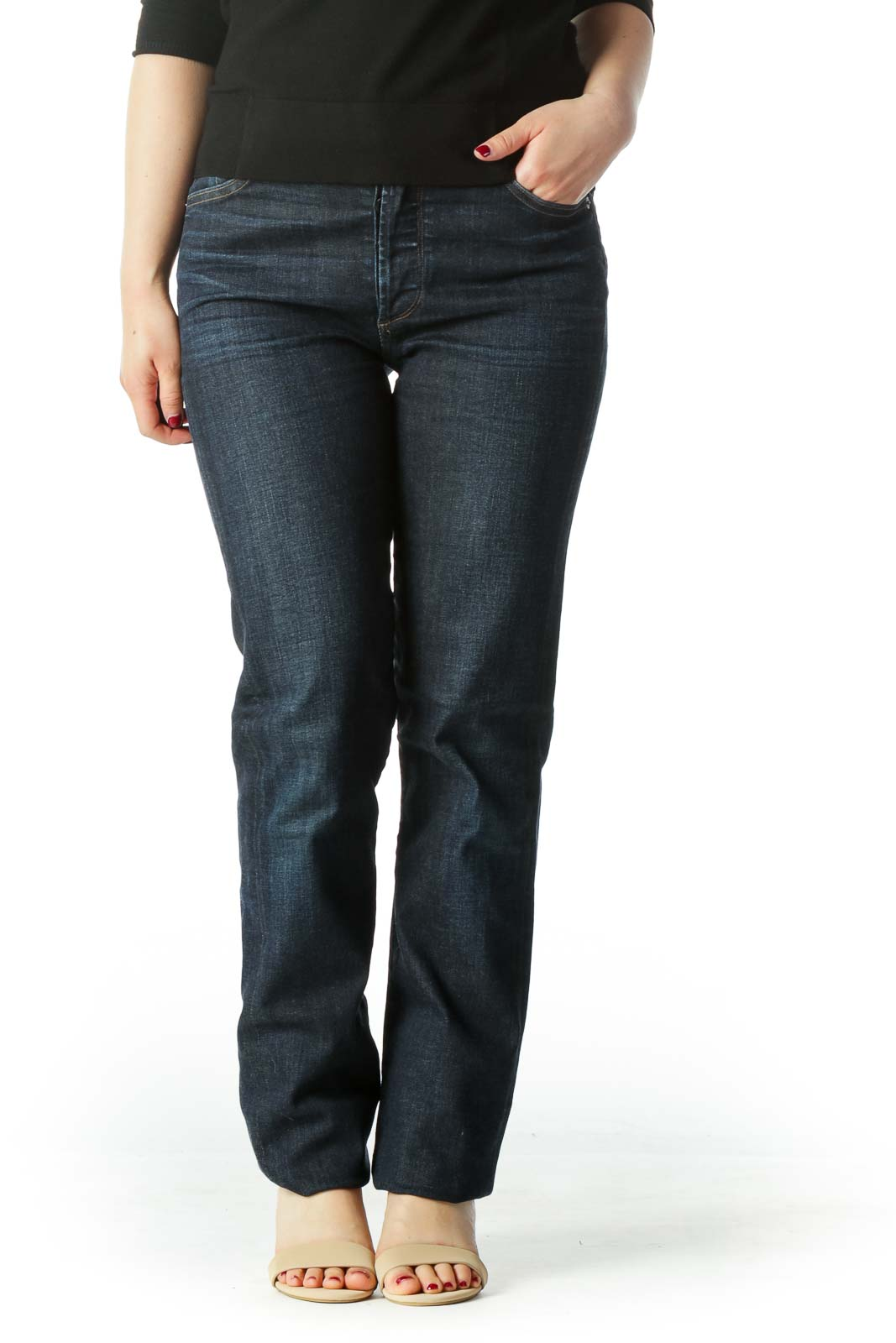Blue High Waisted Straight Leg Denim Jean