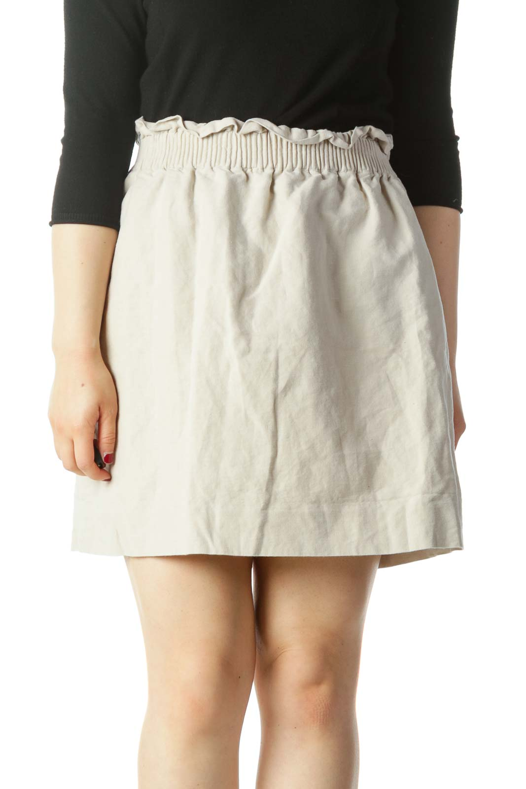Beige Elastic Waist Linen and Cotton Skirt