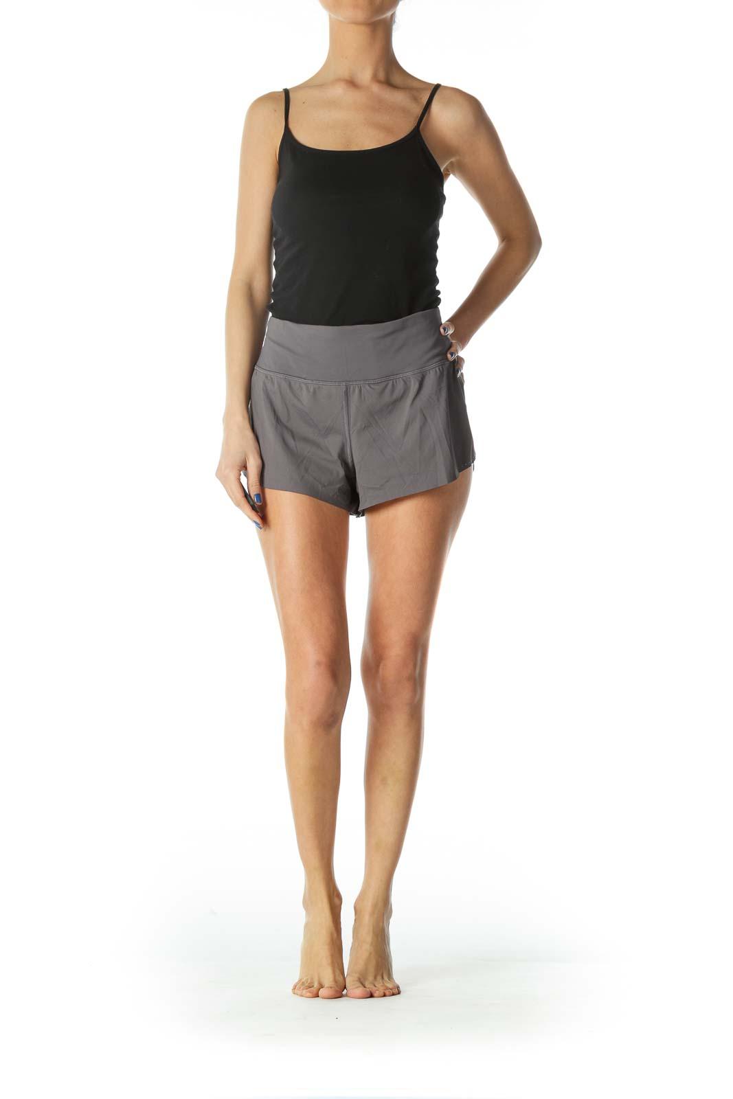 Gray Elastic Mini Sports Shorts