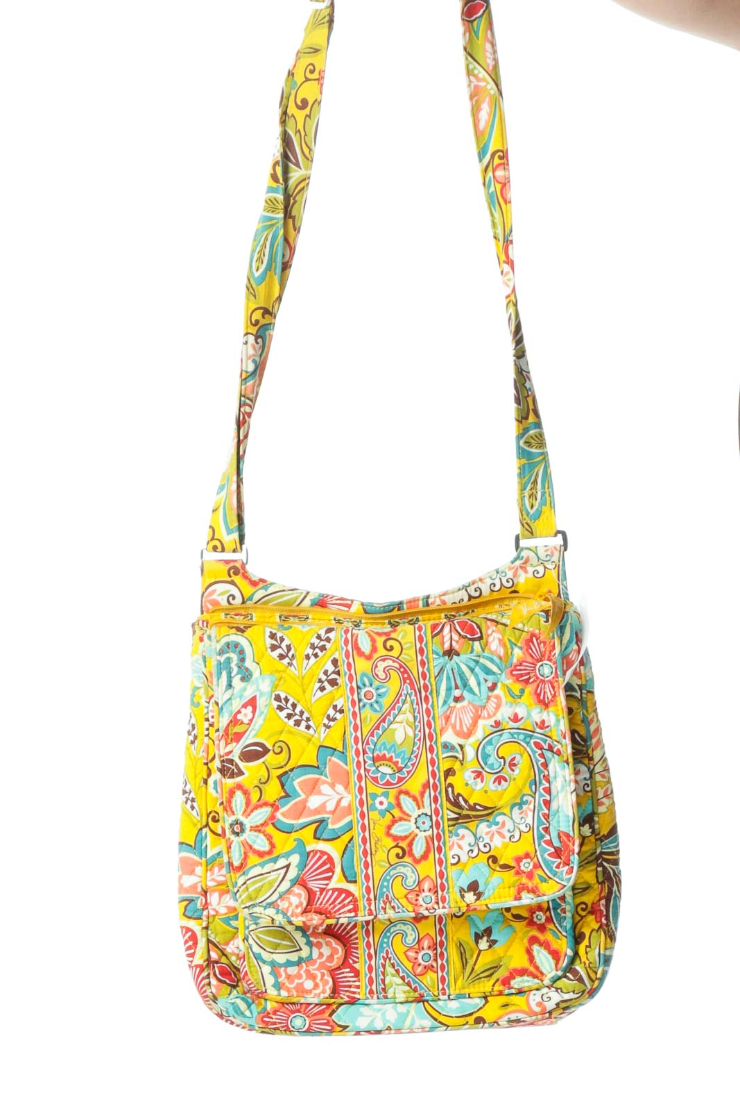 Multicolored Printed Quilted Crossbody Bag