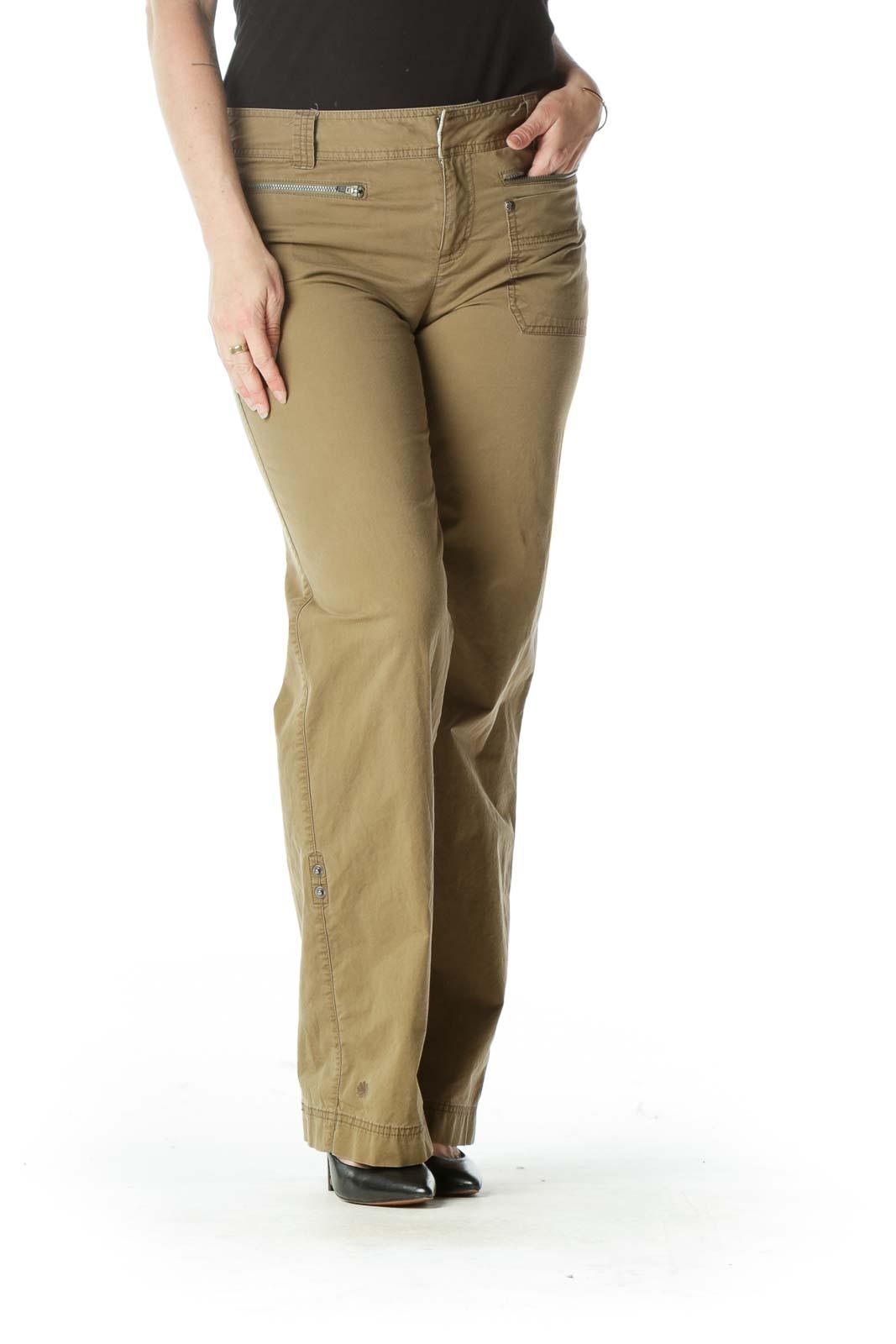 Beige Straight-Leg Pants