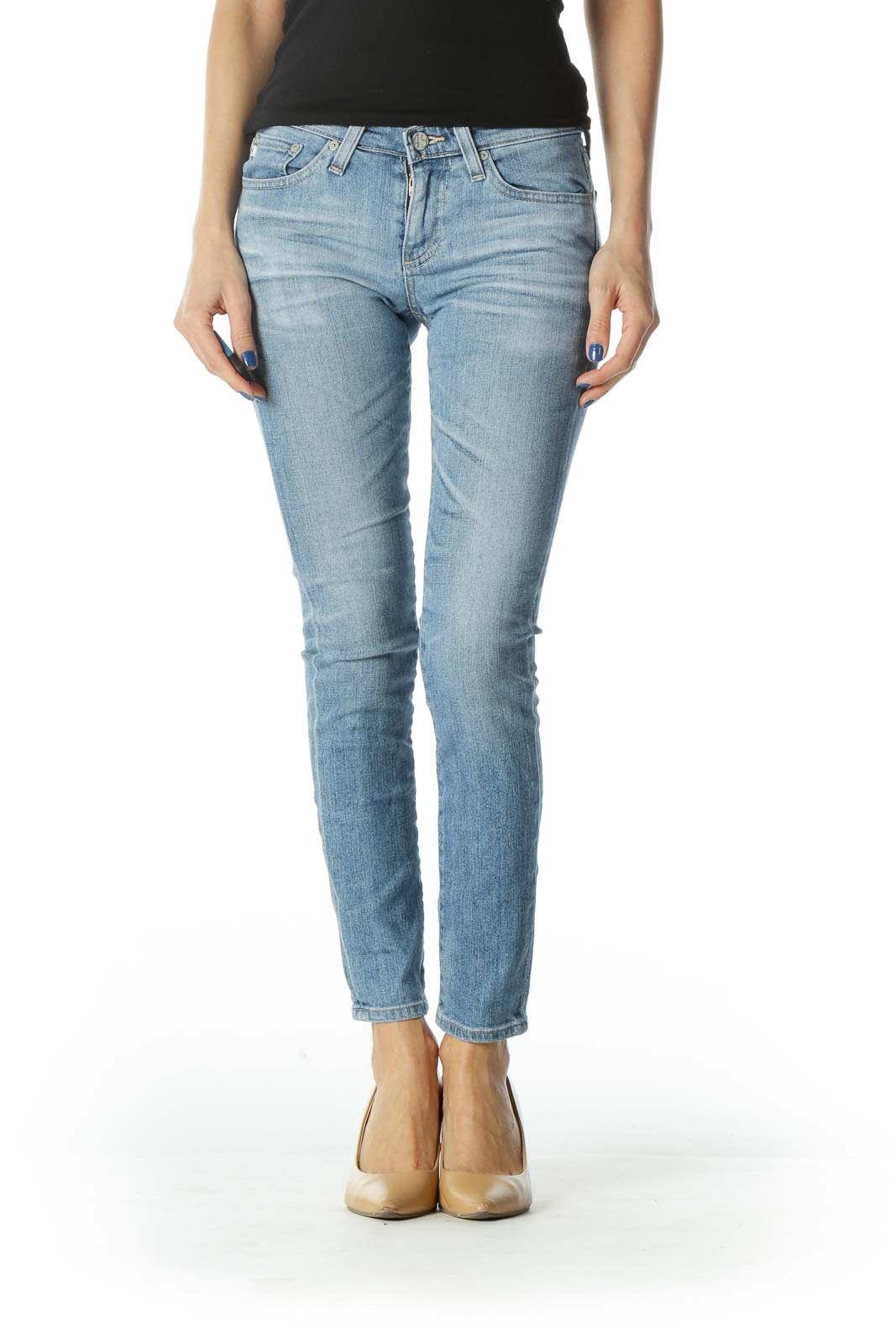 Blue Straight Leg Denim Jean