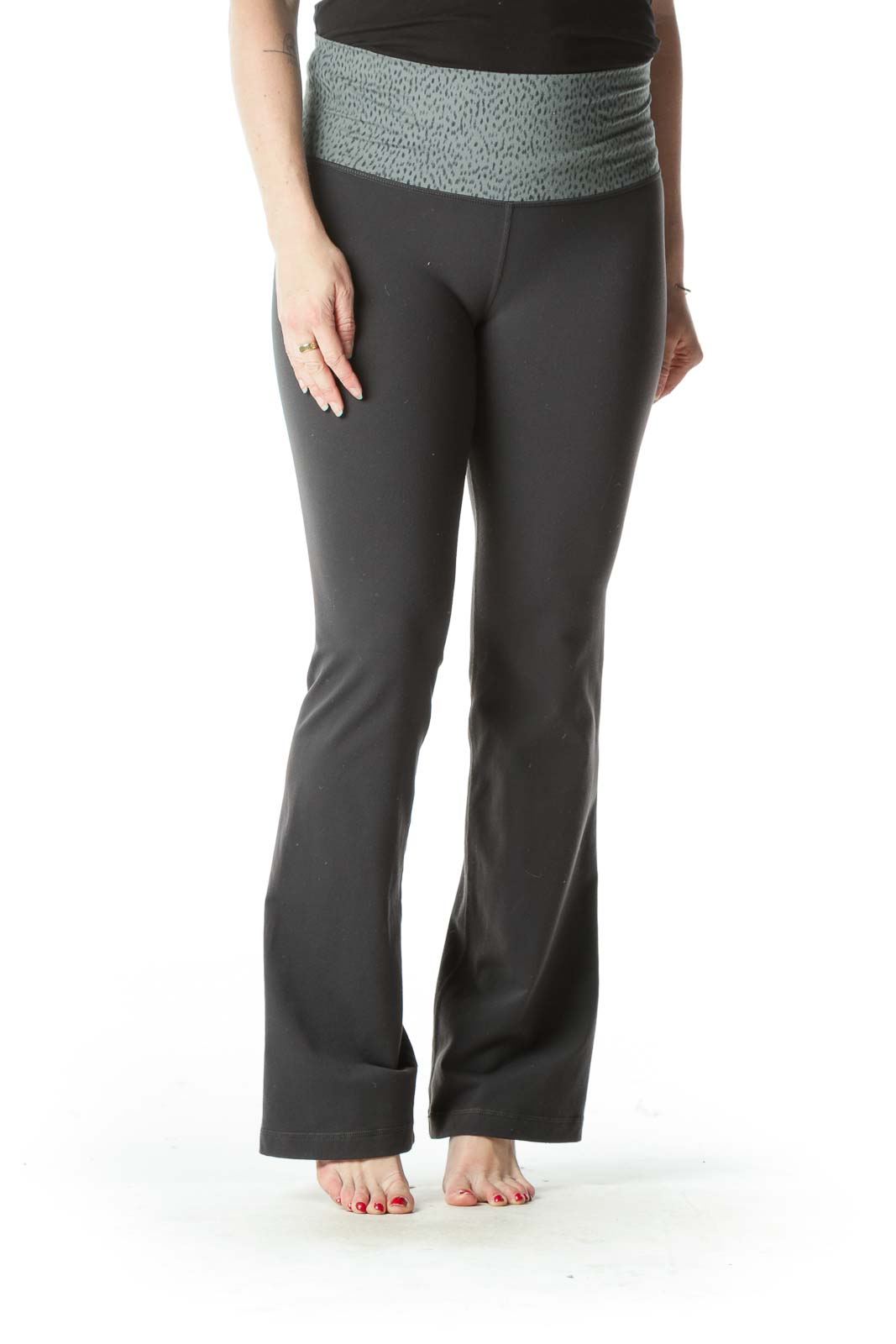 Gray Waist-Patterned Flared Yoga Pants