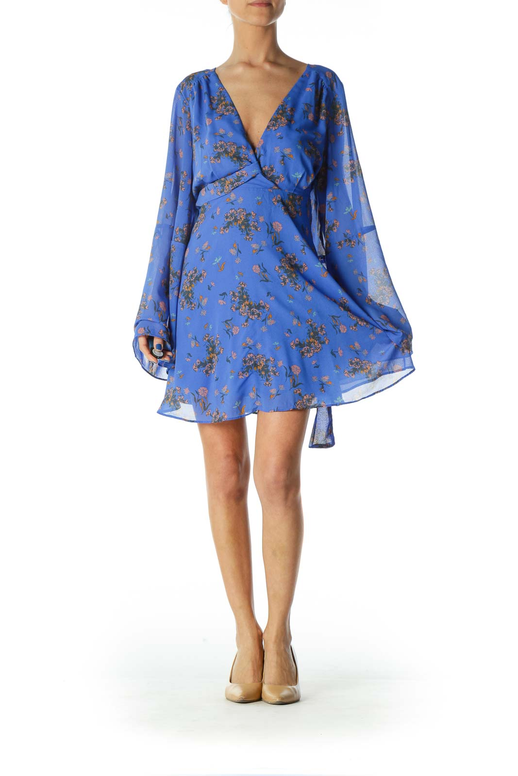 Blue Floral Flared Tunic