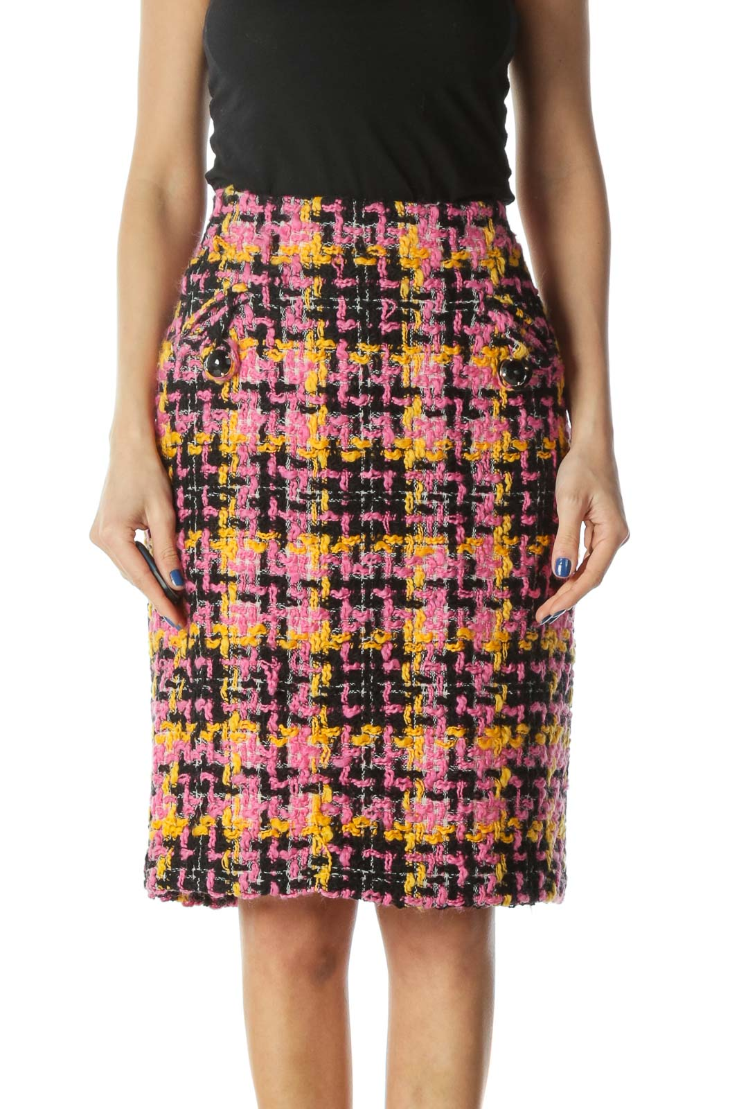 Pink, Yellow, Black Wool Pencil Skirt