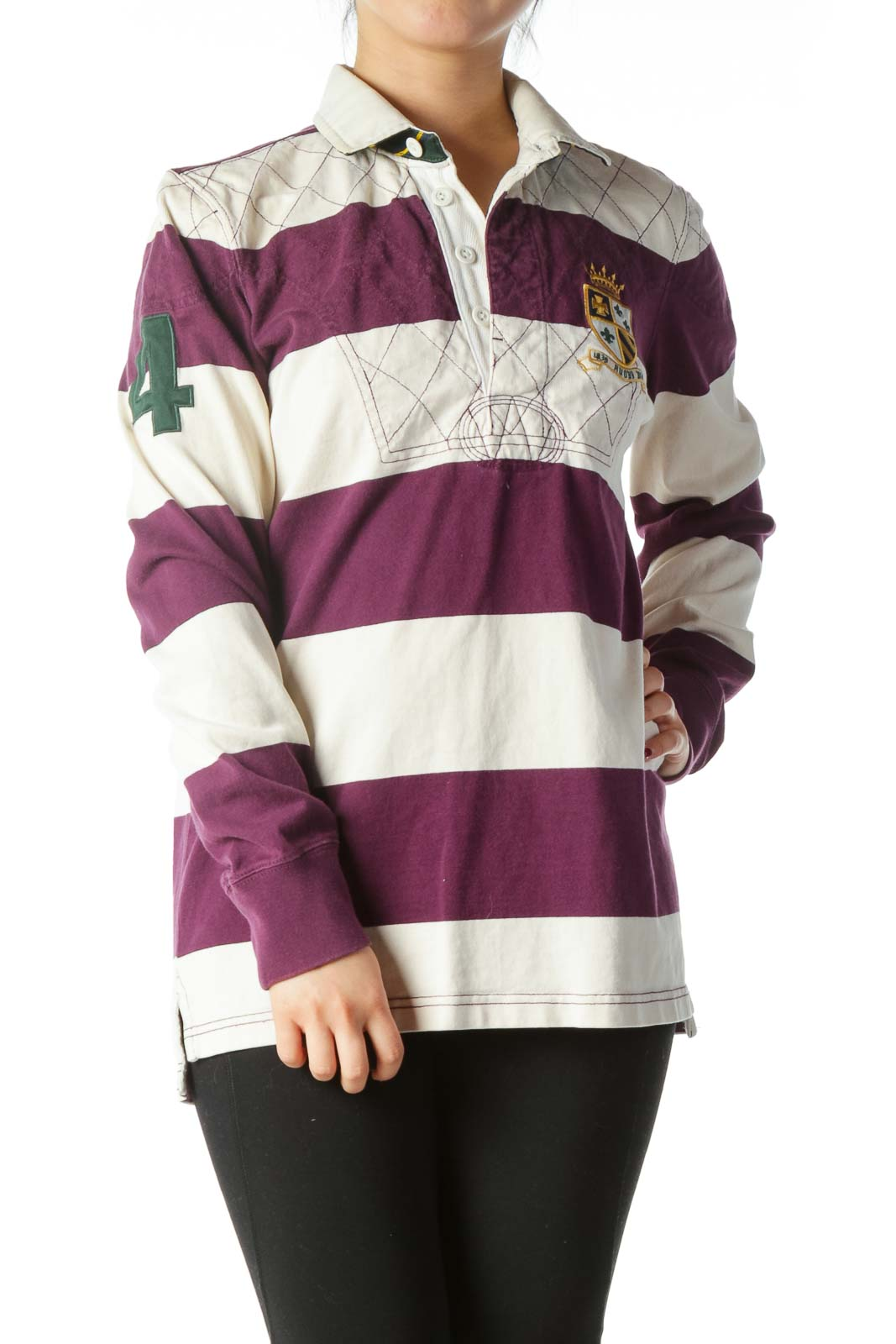 Purple Cream Striped 100% Cotton Knit Sports Top