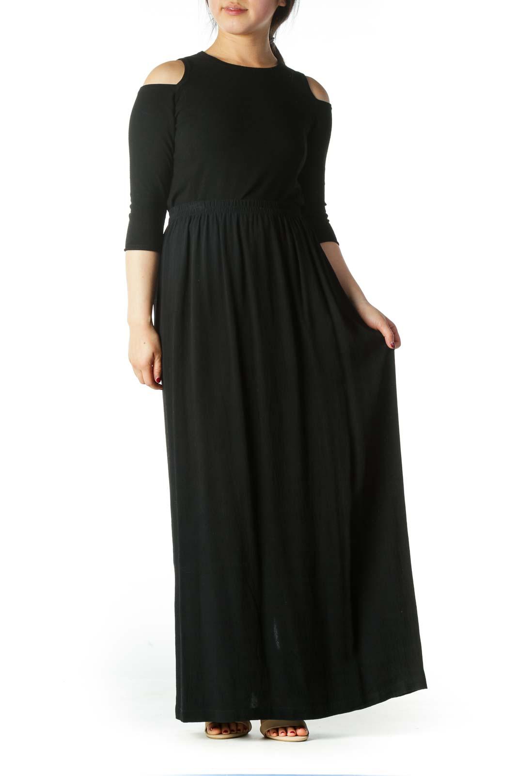Black Back Leg-Opening Maxi Skirt
