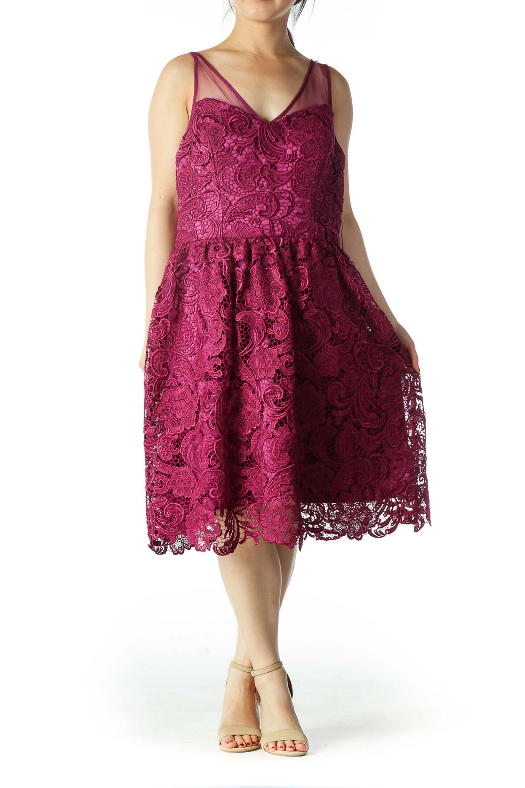 Purple Lace V-Neck Scalloped Cocktail Dress