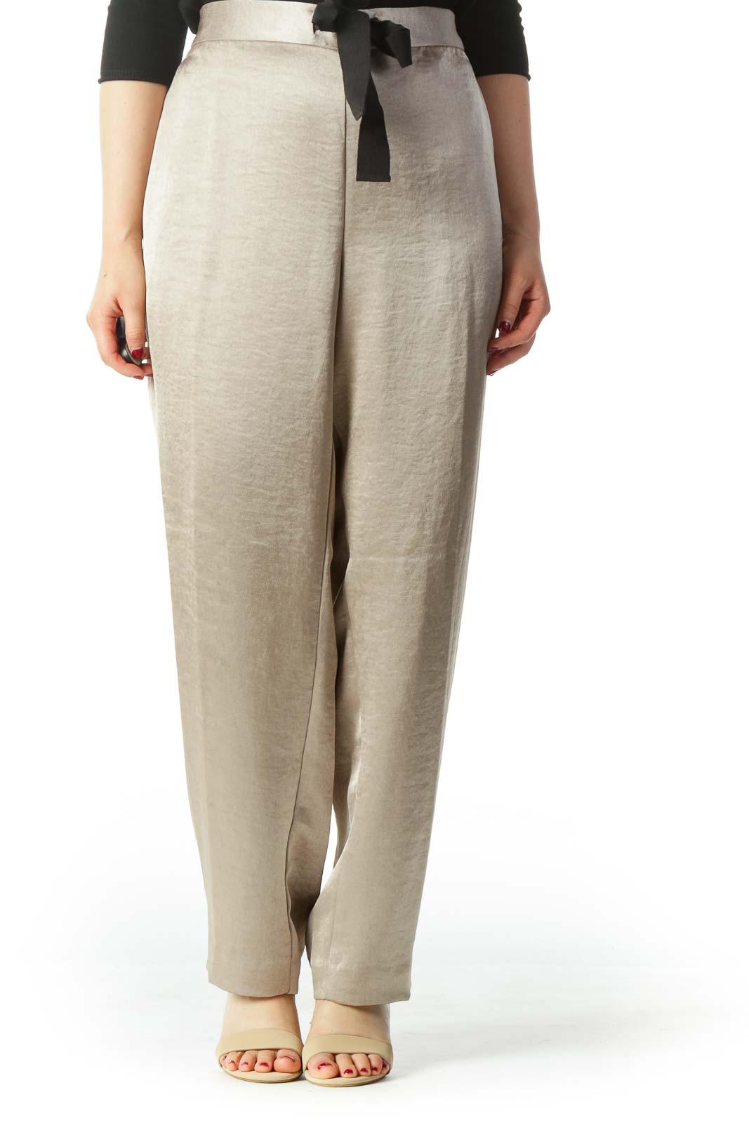 Metallic Beige Wide Leg Dress Pants