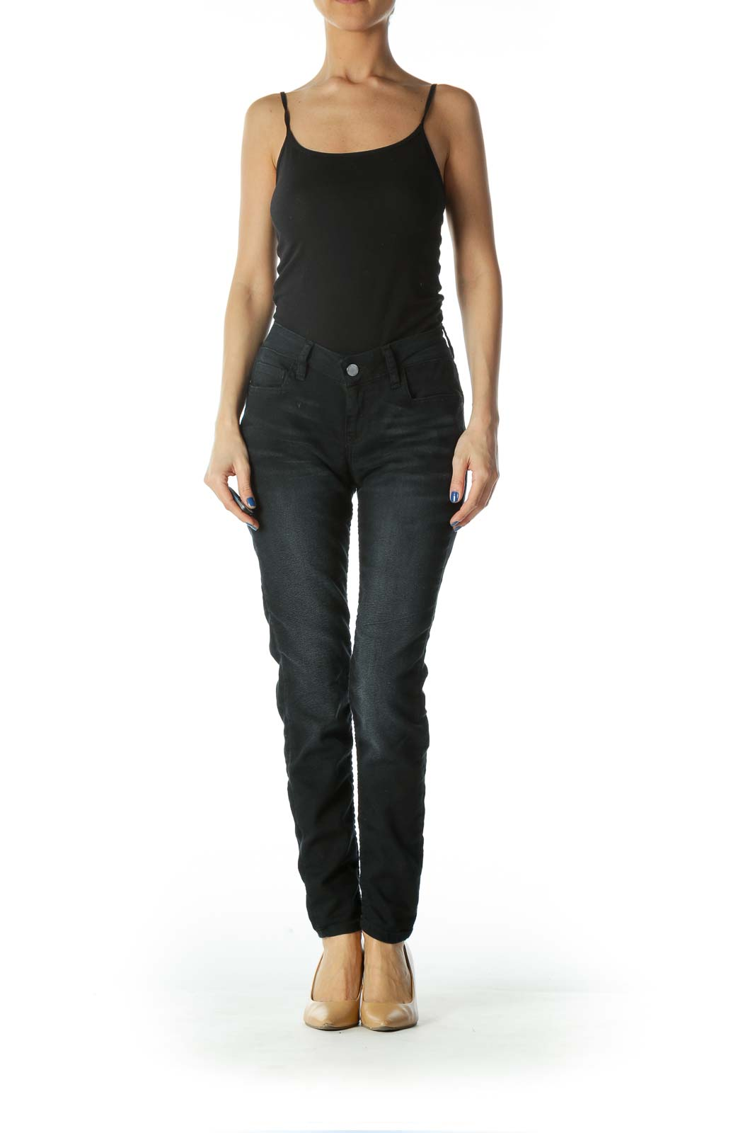 Black Faded Skinny Denim Jean