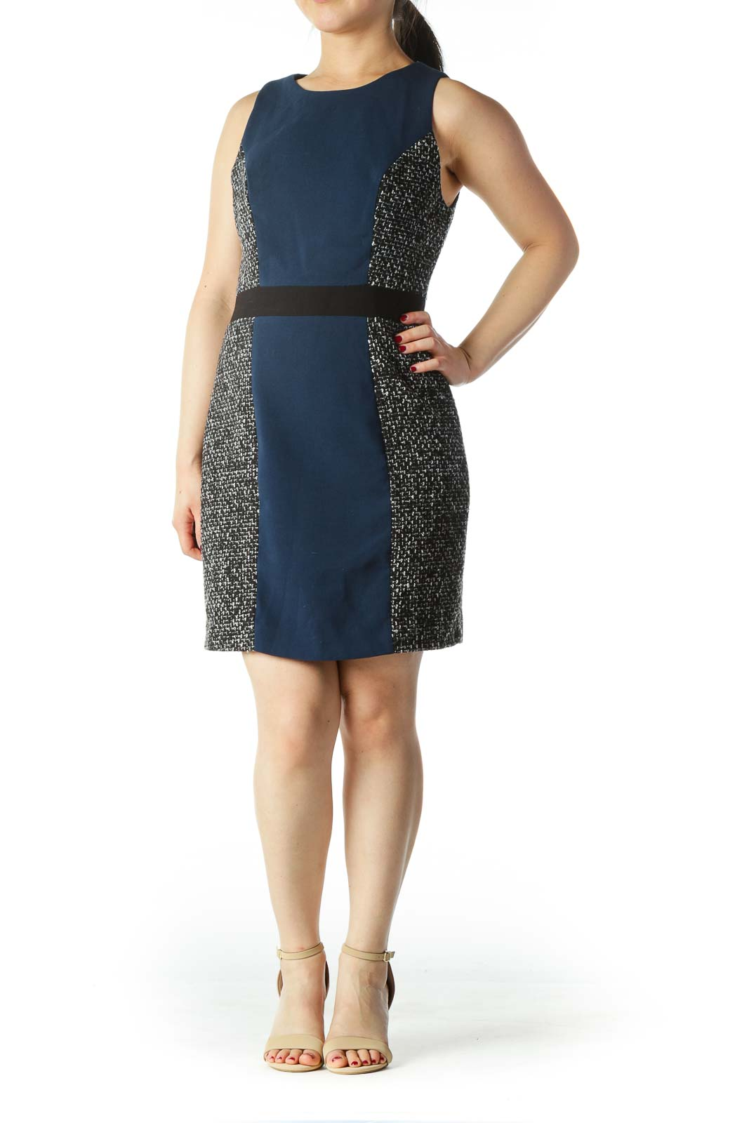 Blue Black White Knit Textured Work Dress