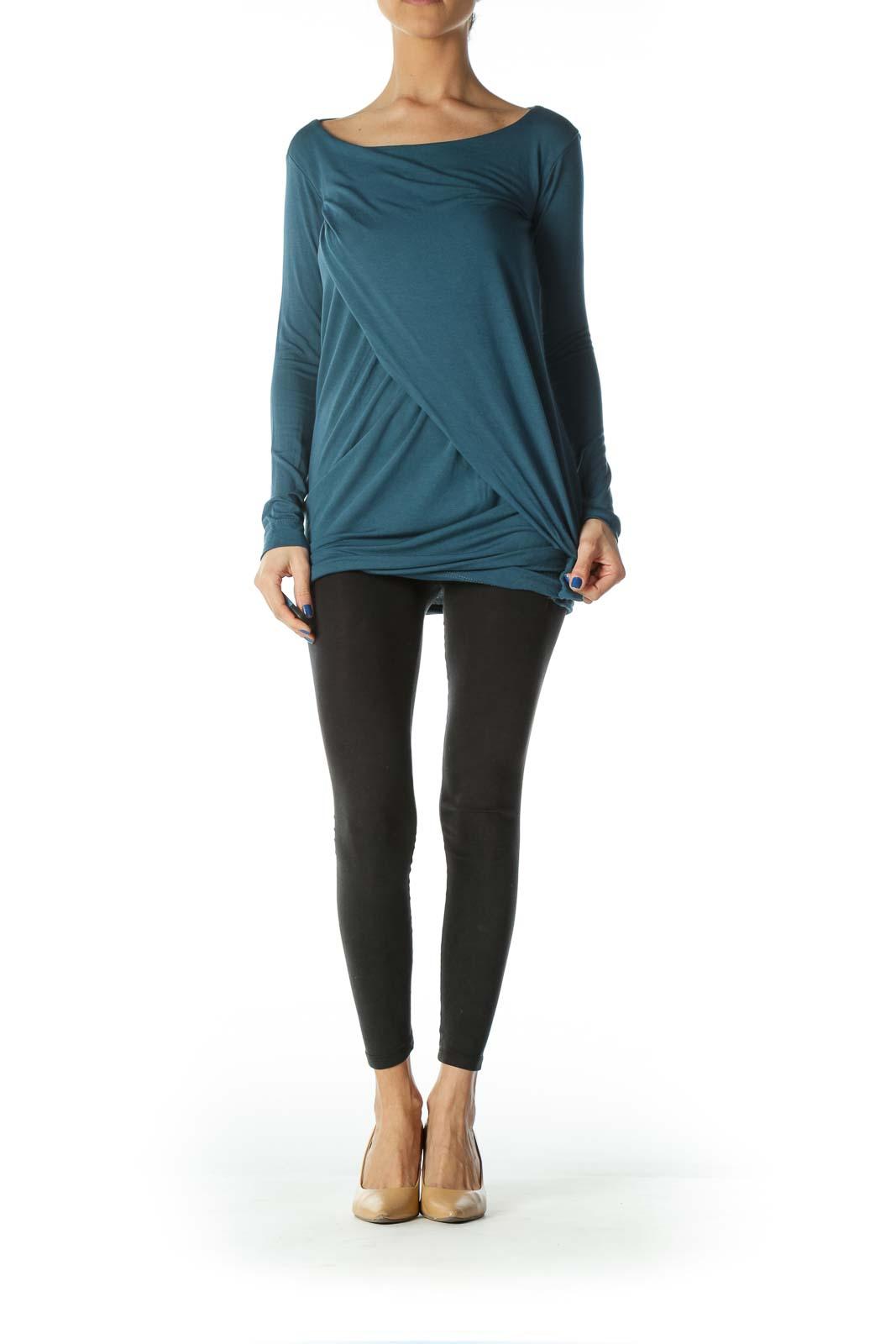 Blue Long Sleeve Shirt Dress