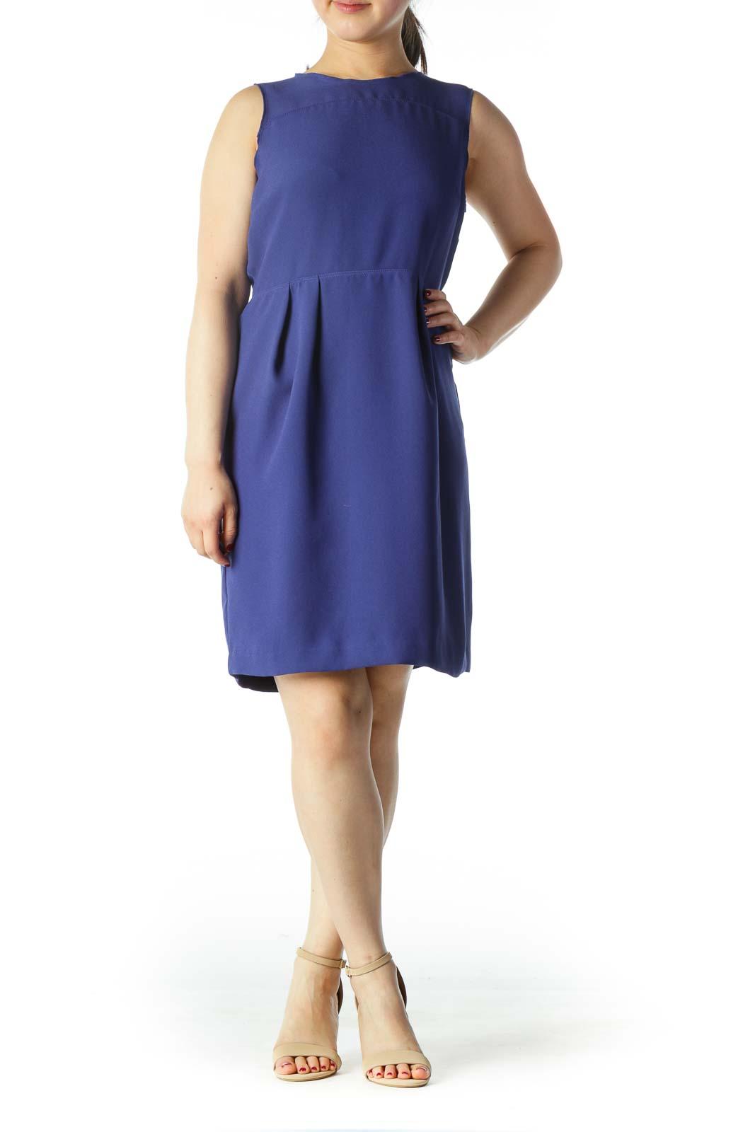 Blue Round Neck A-Line Work Dress