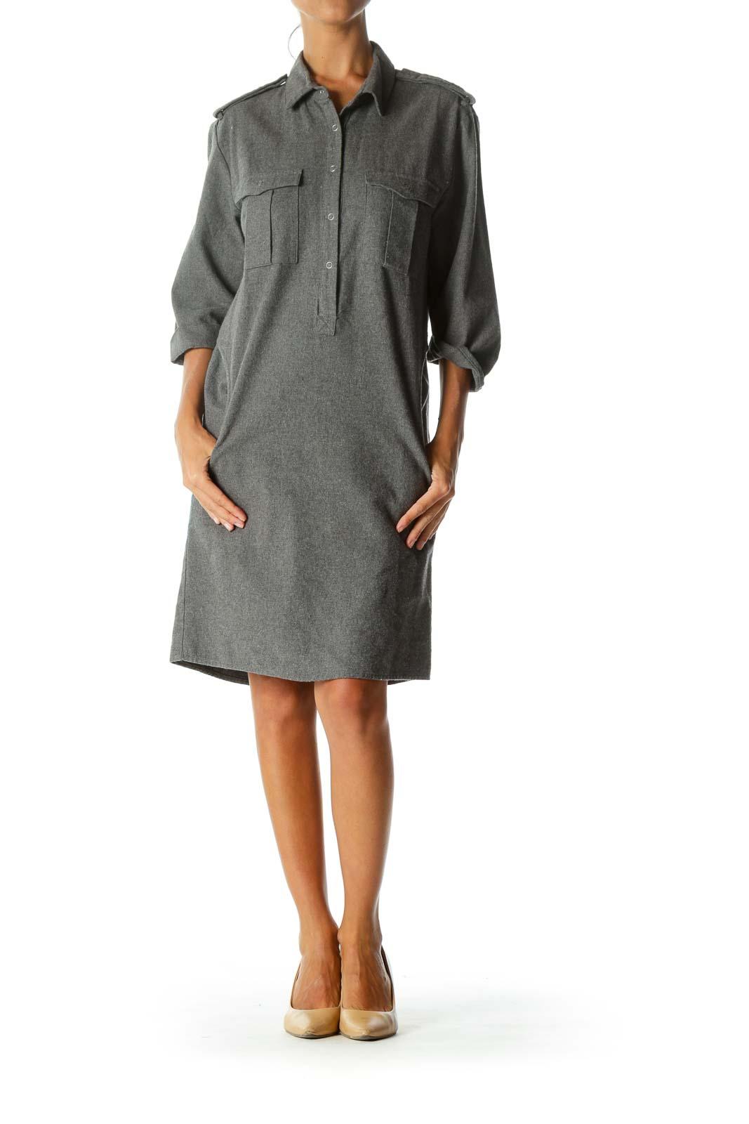 Grey Collared Pocketed Shirt Dress