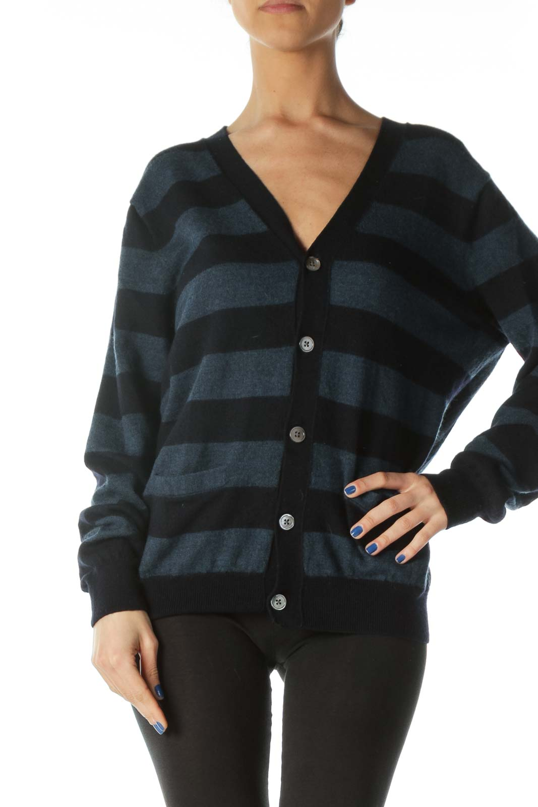 Navy and Blue Striped V-Neck Cardigan