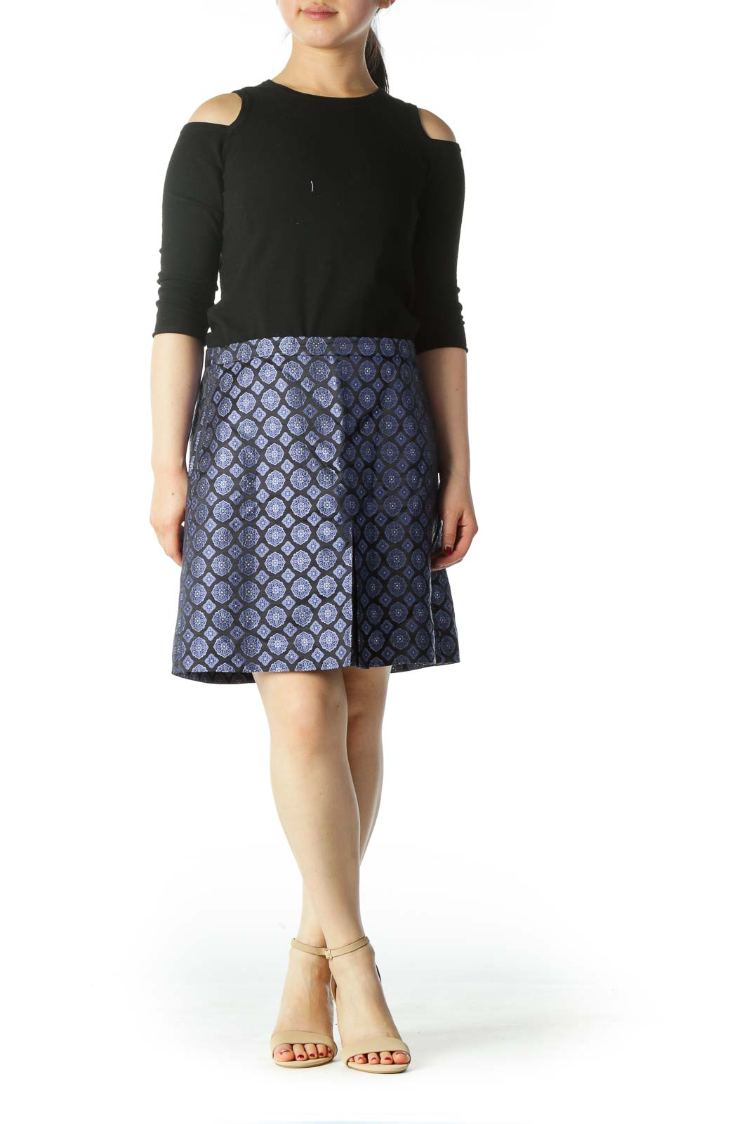Blue and Black Patterned Silk Mini Skirt