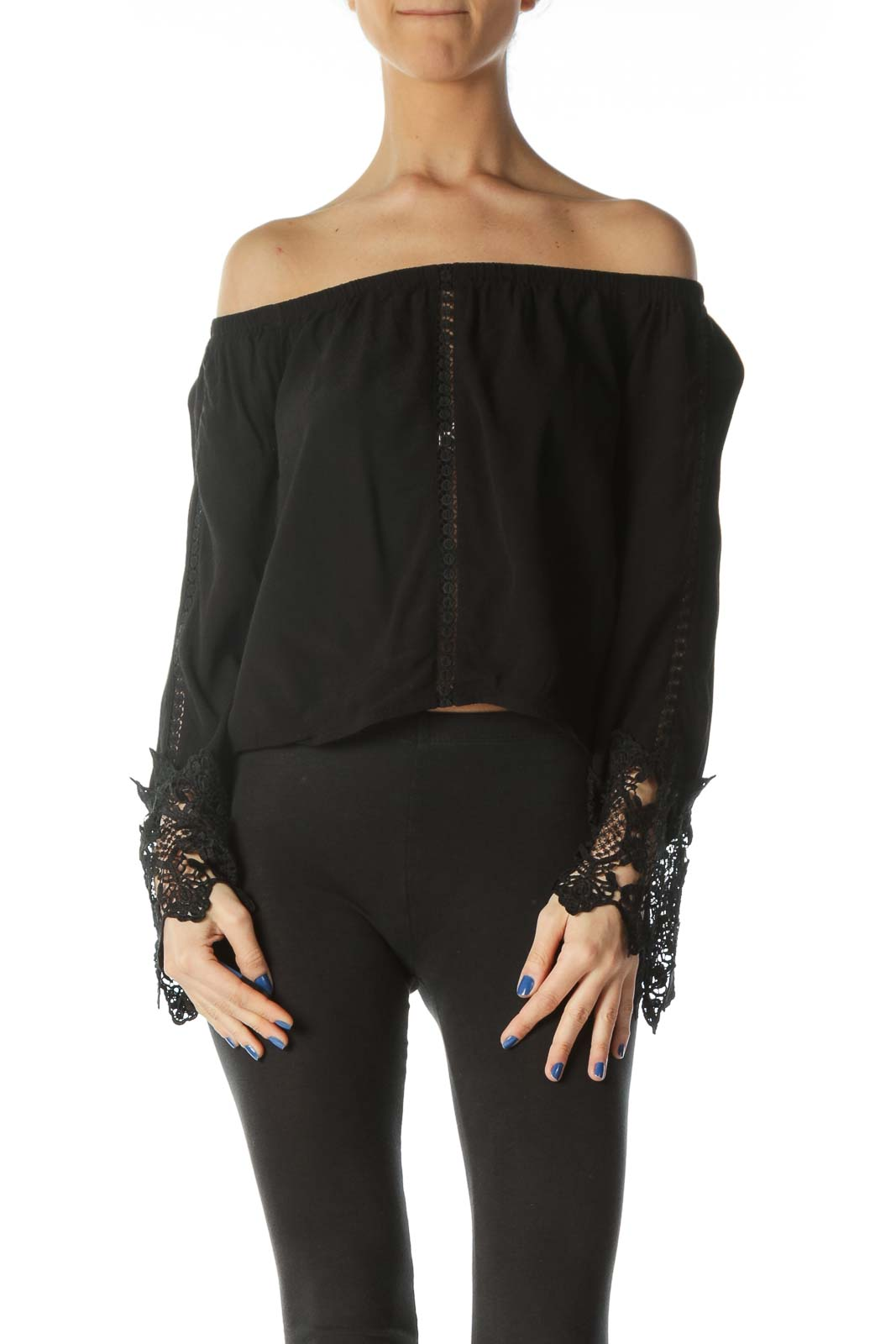 Black Lace Crop Blouse