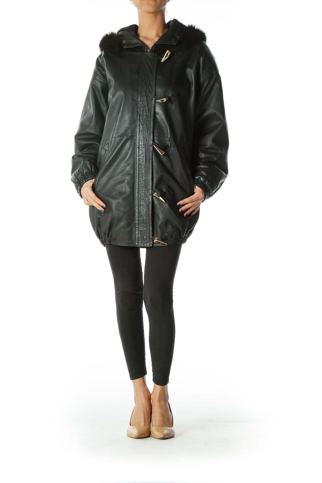 Black Faux Fur Leather Coat