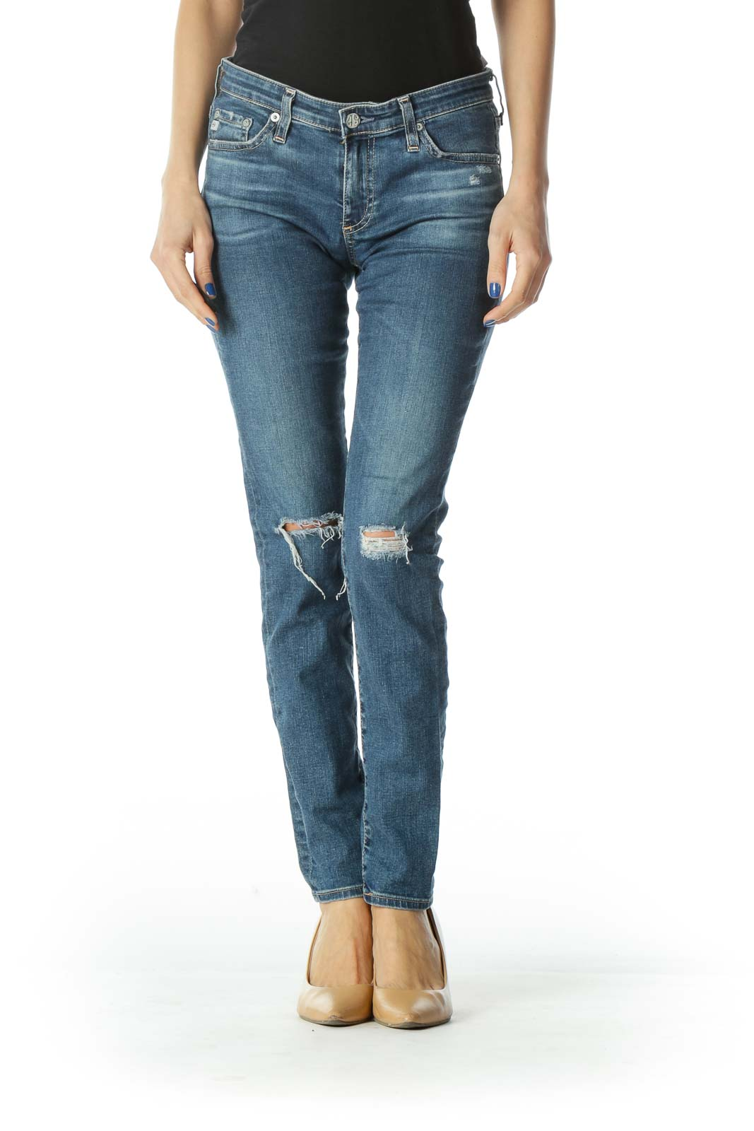 Blue Distressed Mid Rise Super Skinny Jeans