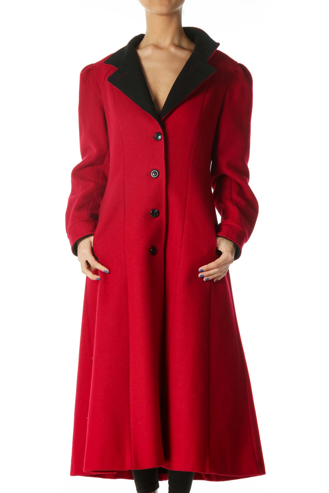 Red Single Breasted Knit Heavy Coat