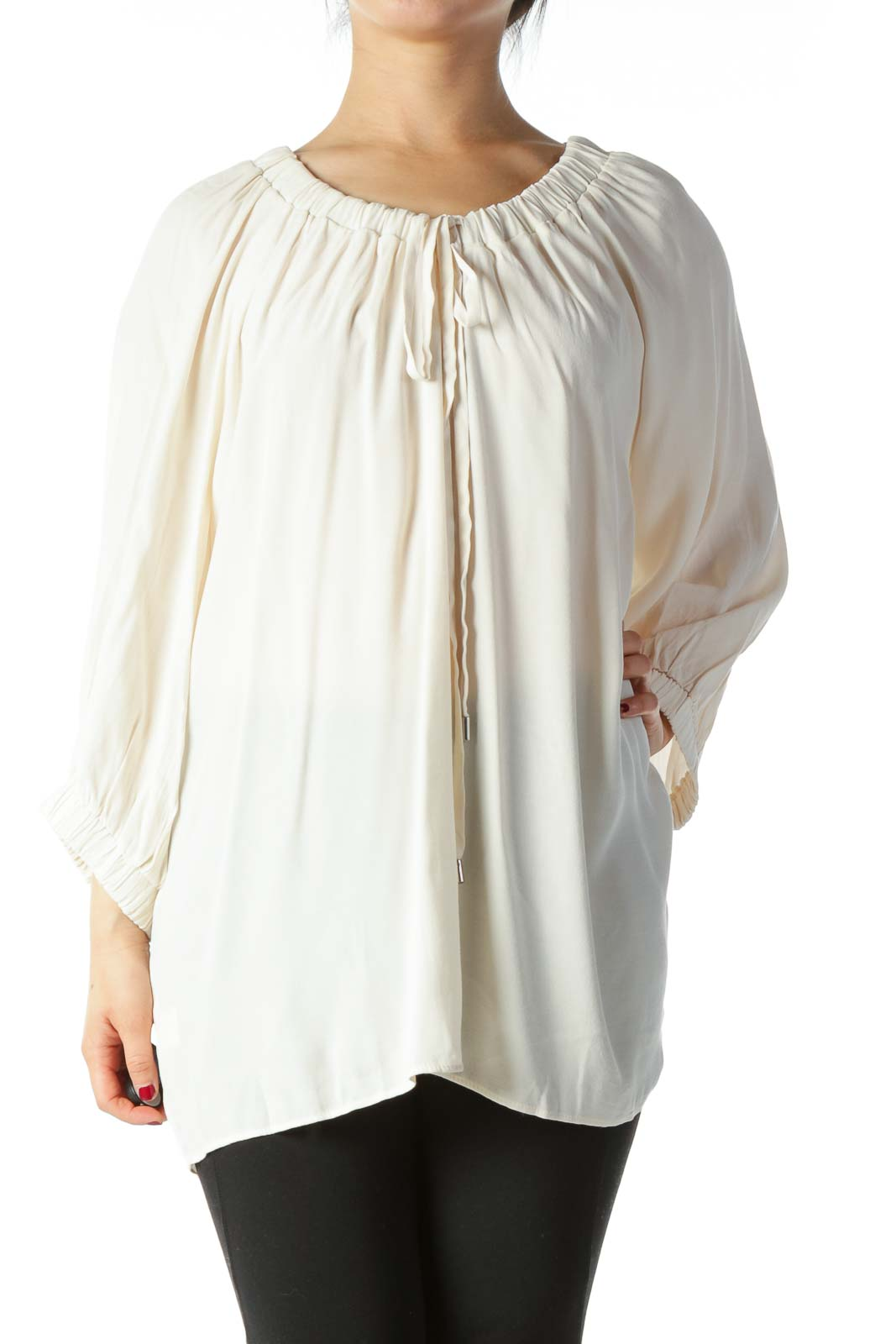 Cream Elastic Detail and Drawstring Blouse