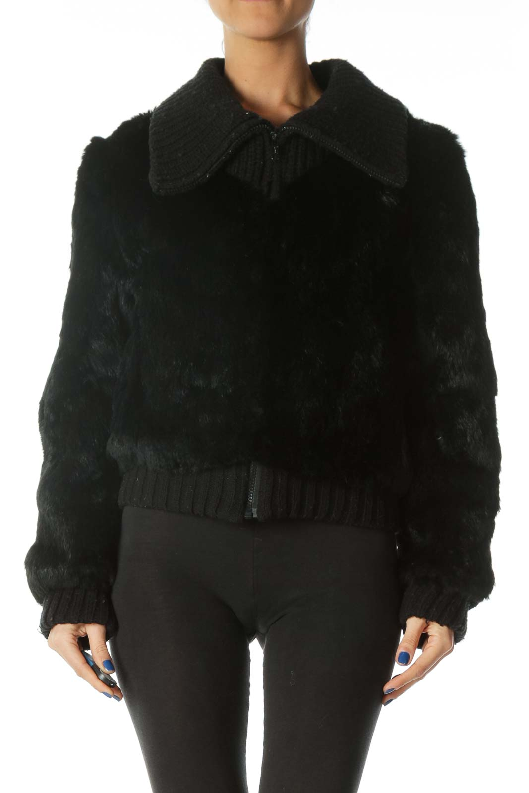 Black Genuine Rabbit Fur Jacket