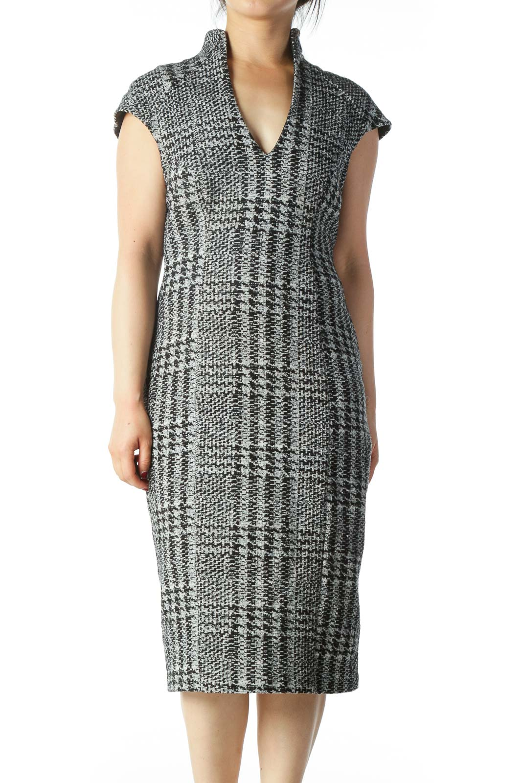 Black White Silver Metallic Thread Knit Dress