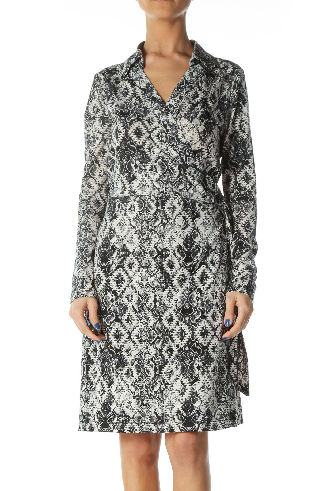 Black and White Snake Skin Print Wrap Dress