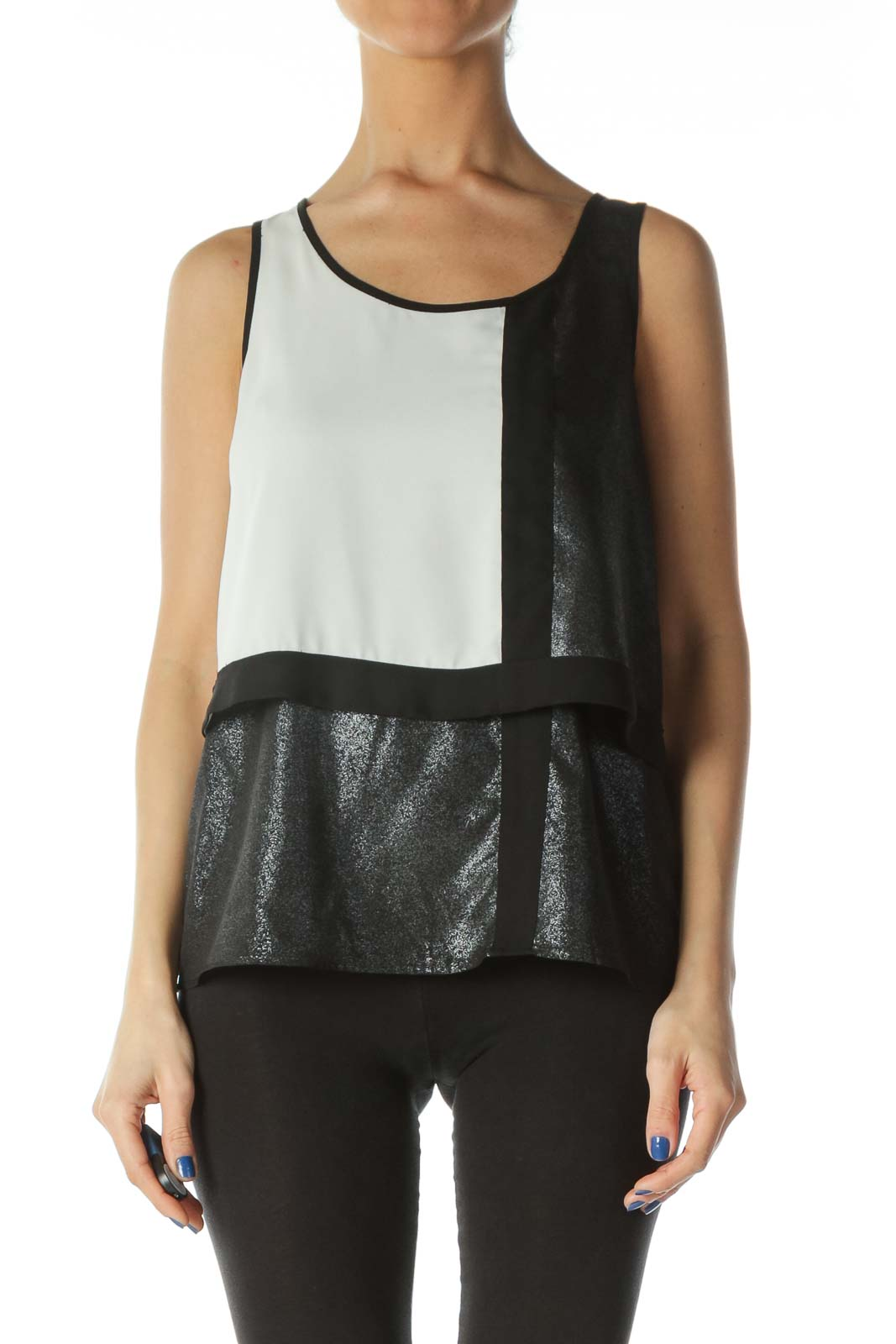Black Cream Silver Color Block Metallic Blouse