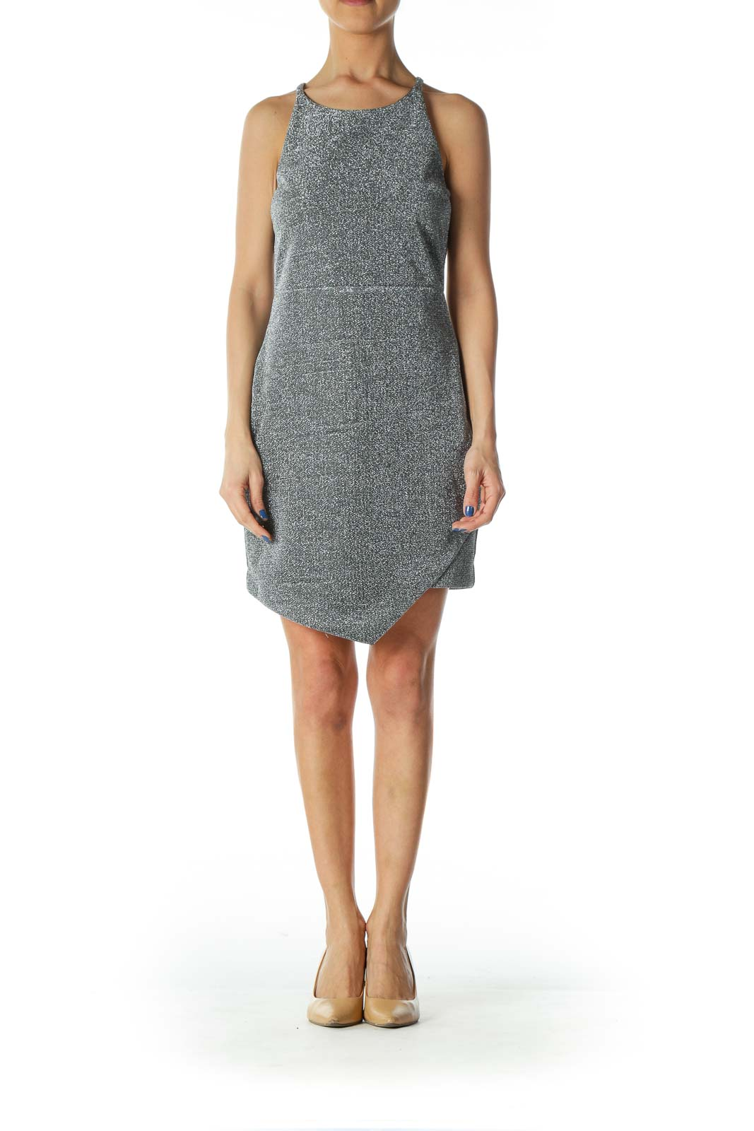 Silver Metallic Textured Cocktail Dress