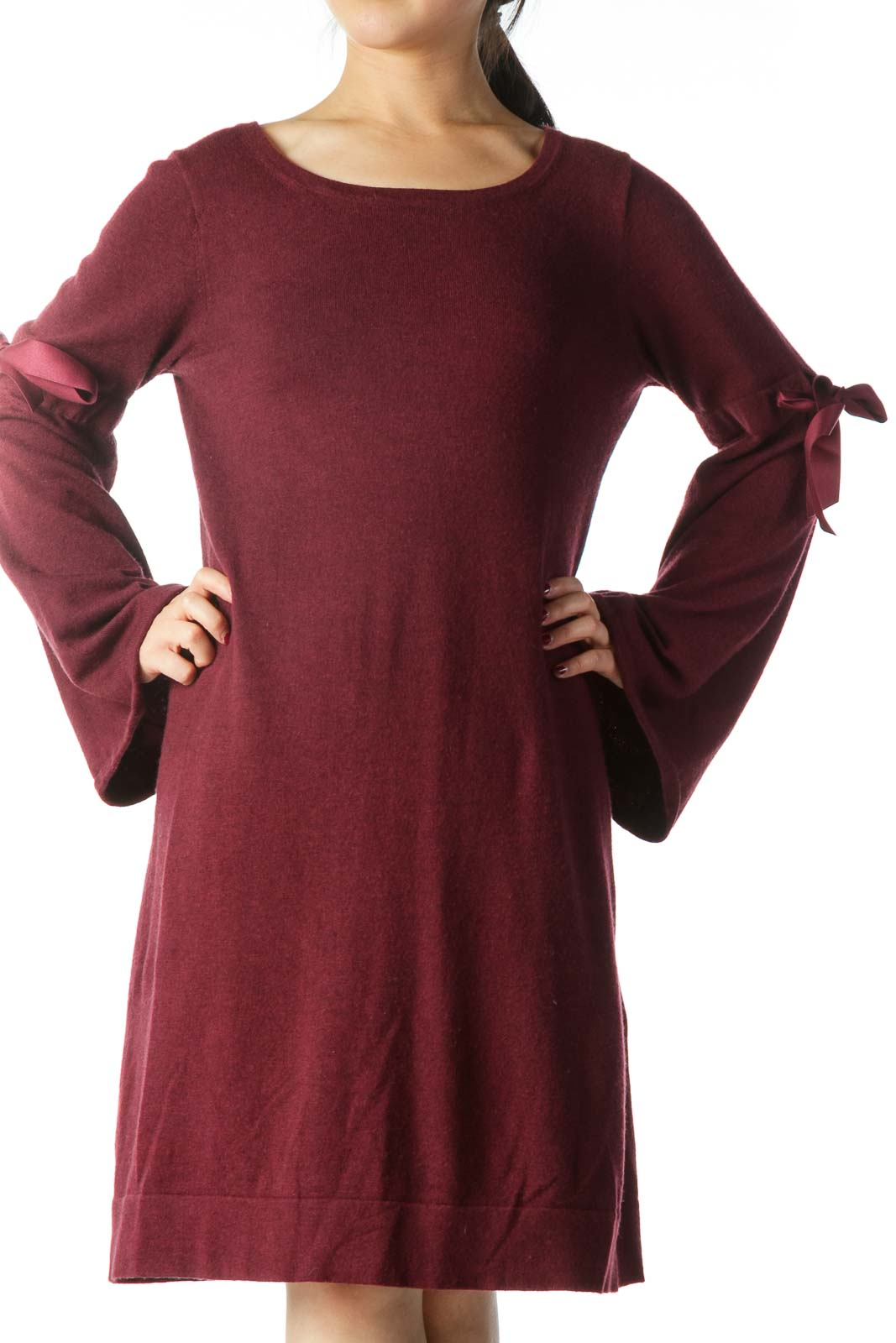 Burgundy Ribbon Bell Sleeves Knit Dress
