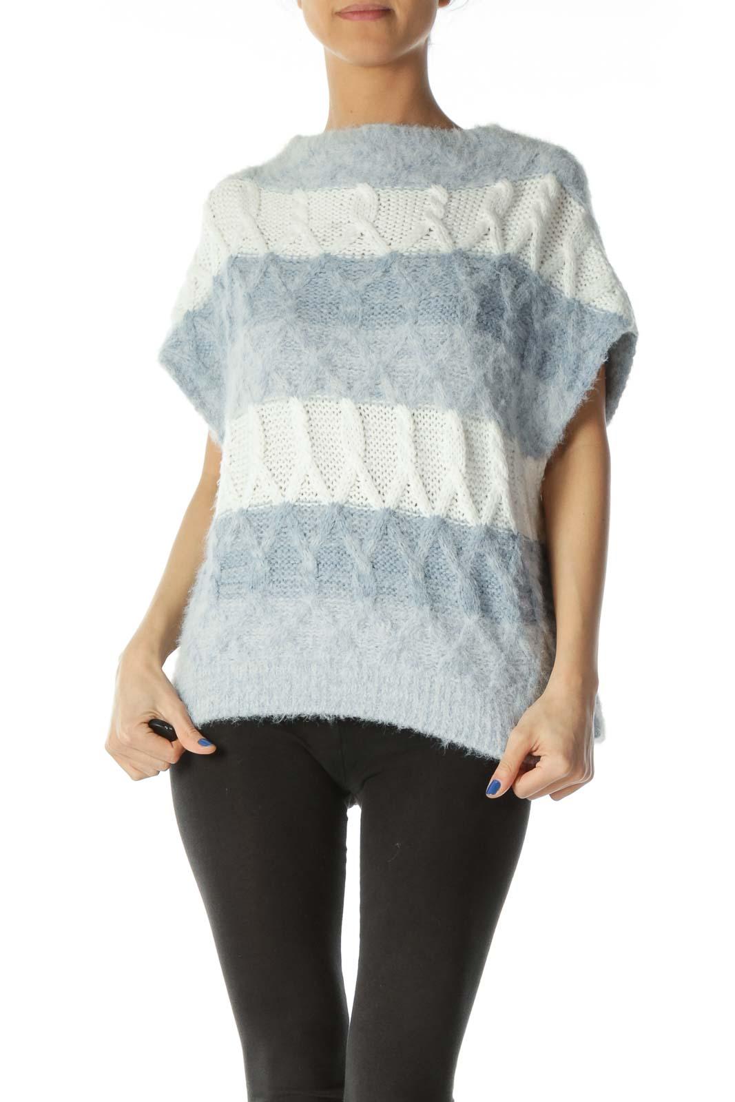 Blue White Knit Horizontal Stripes Fluffy Vest