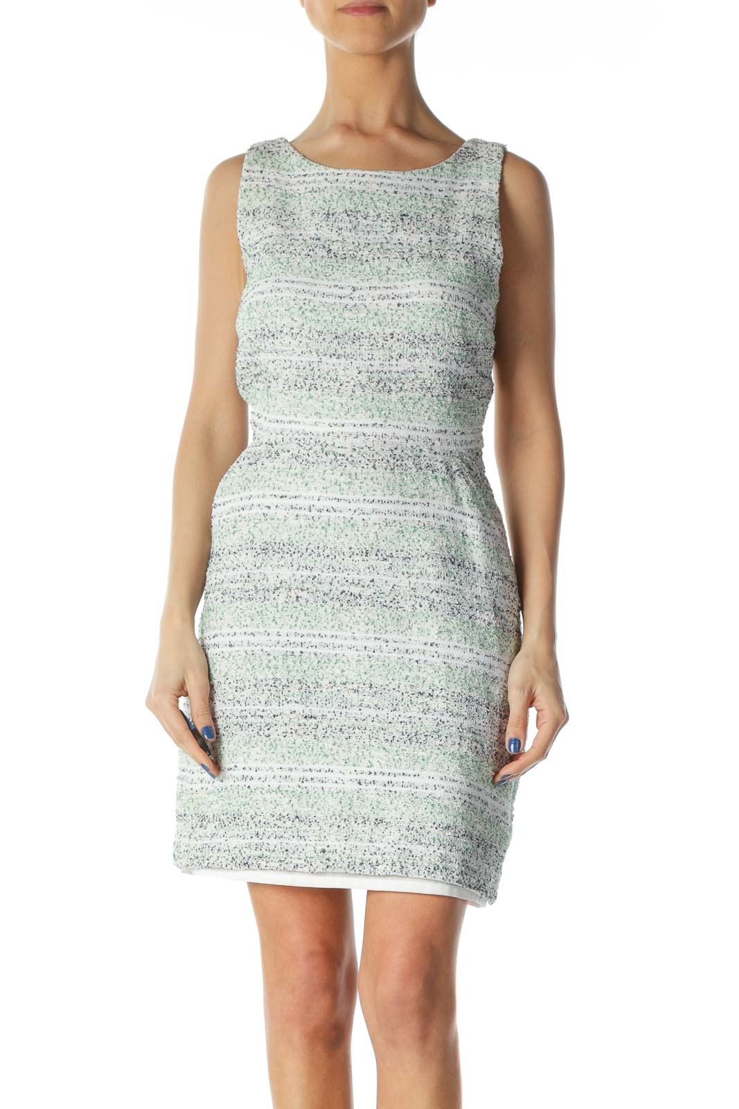 Green, White and Blue Knit Dress