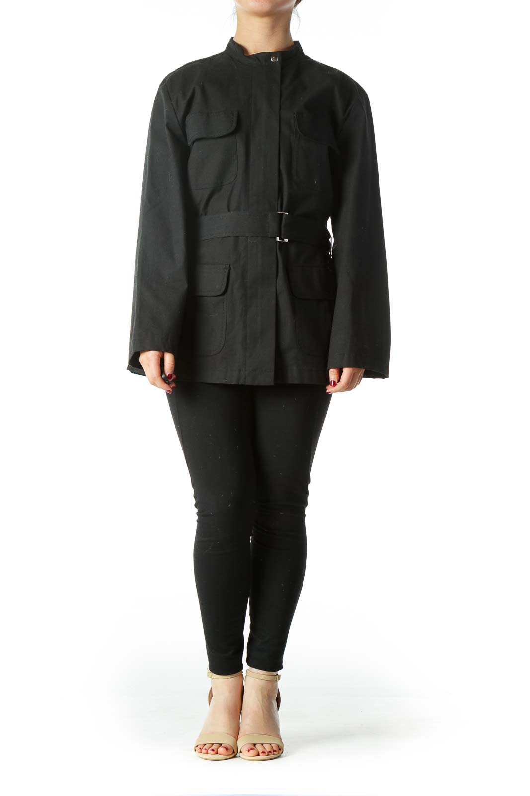Black Belted Pocketed Fitted Jacket