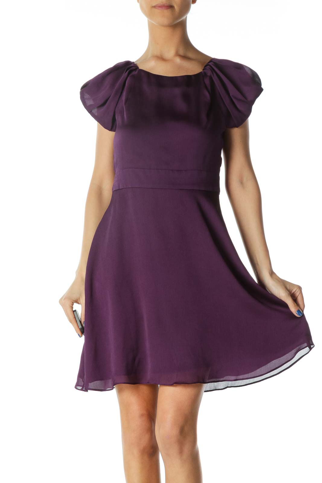 Purple Open-Back Scrunched Cap Sleeves Flared Dress