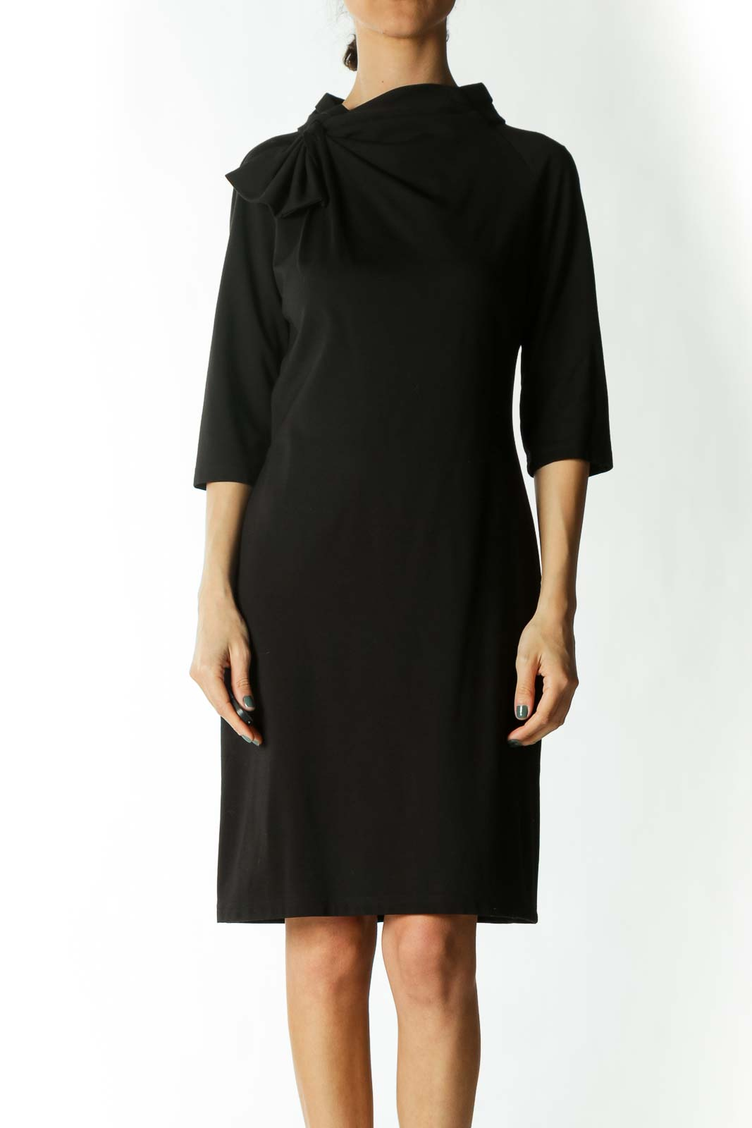 Black Neck Bow Detail 3/4 Sleeve Day Dress