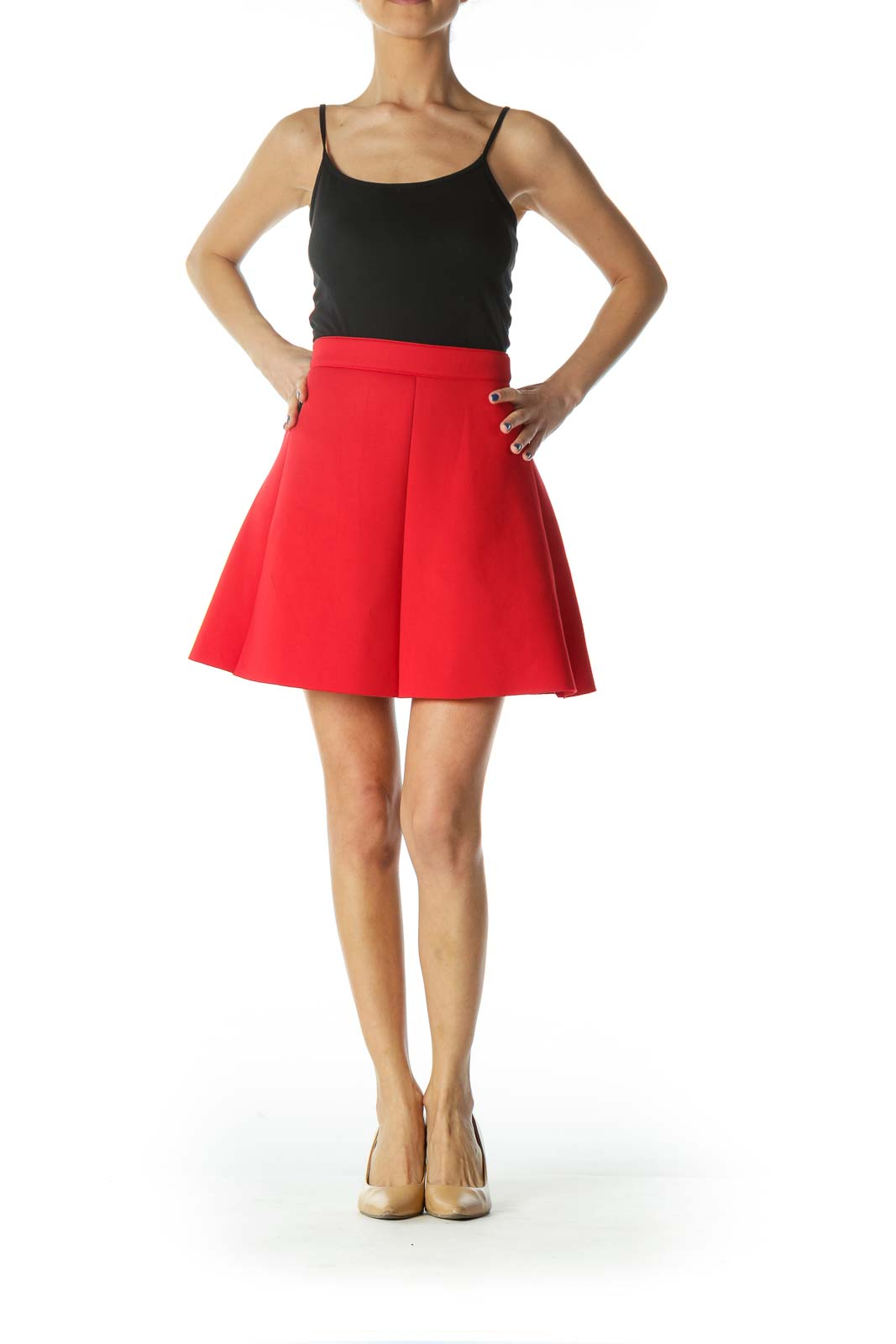 Red Flared Skater Mini Skirt