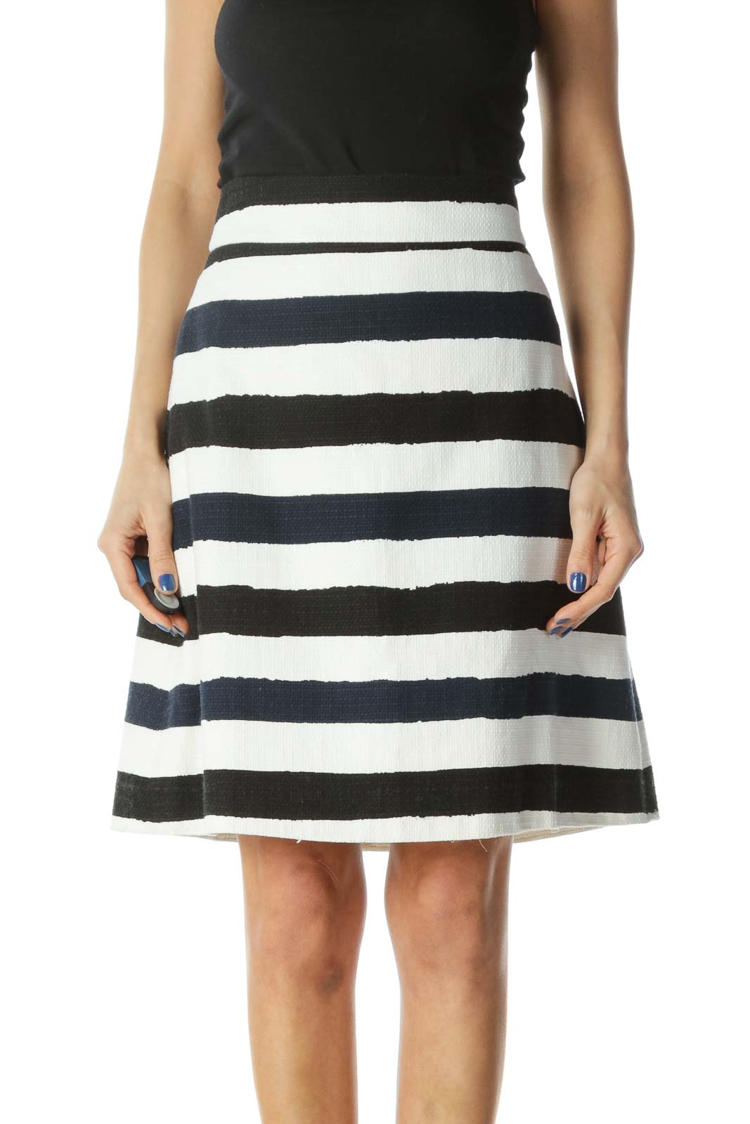 Blue, Black,and White Striped Skirt